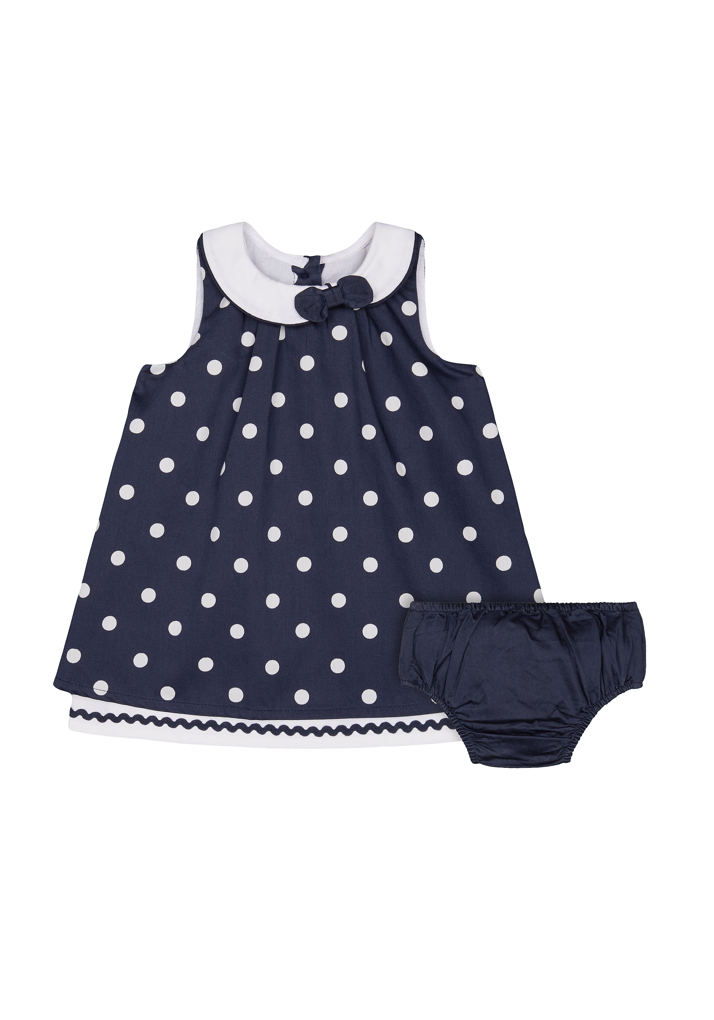 Mothercare | Girls Sleeveless Dress And Knickers Set Bow And Lace Details - Navy