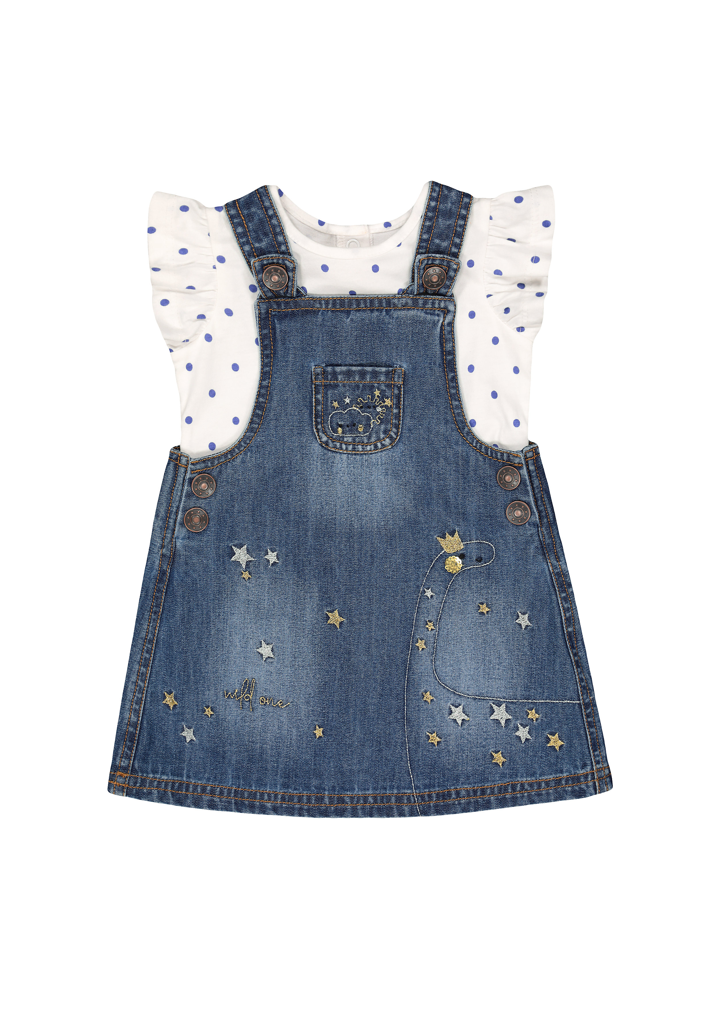 Mothercare | Girls Half Sleeves Denim Dress And Tee Set Embroidered - Blue White