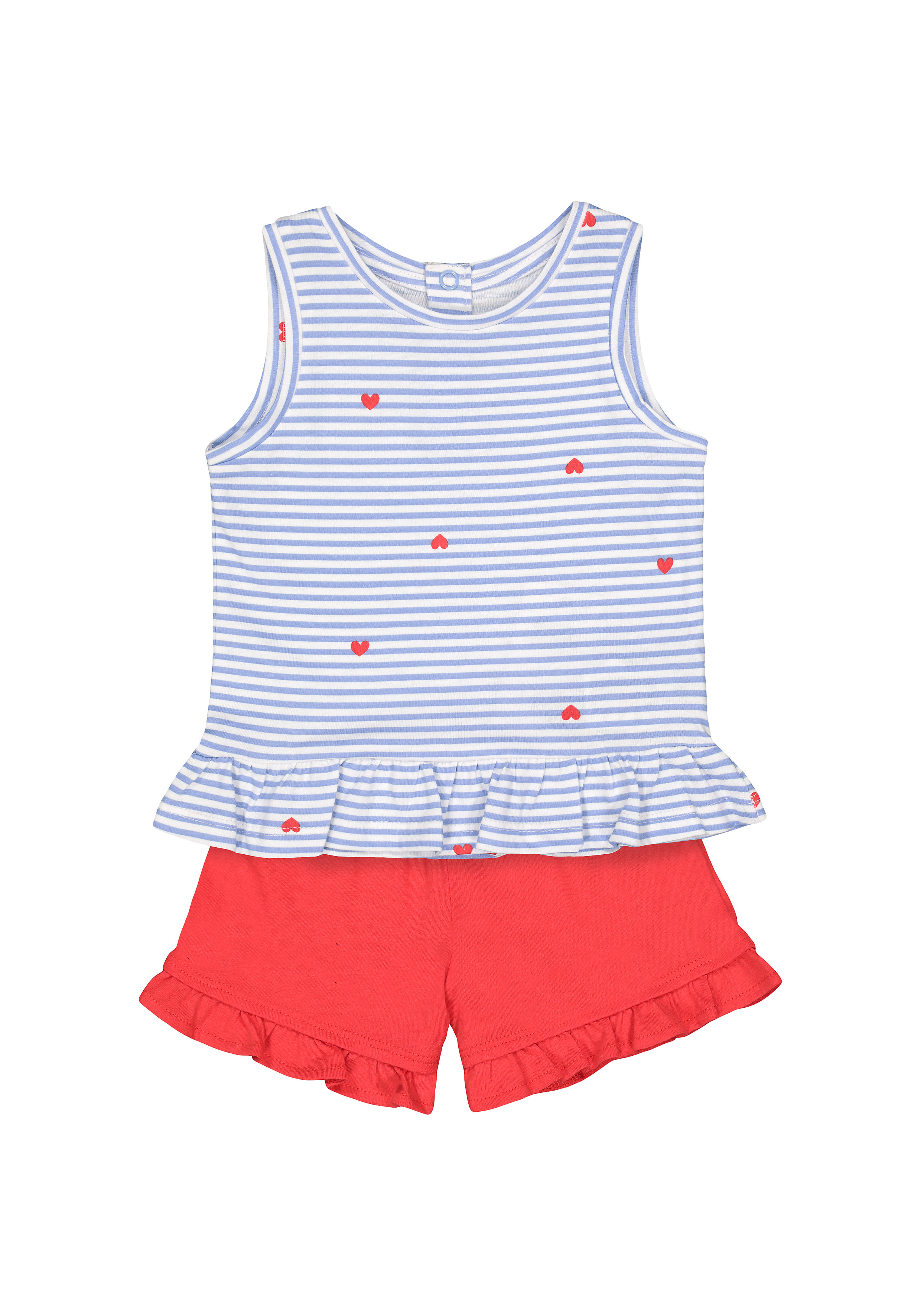 Mothercare | Girls Sleeveless T-Shirt And Shorts Set Stripes And Heart Print - Blue Red