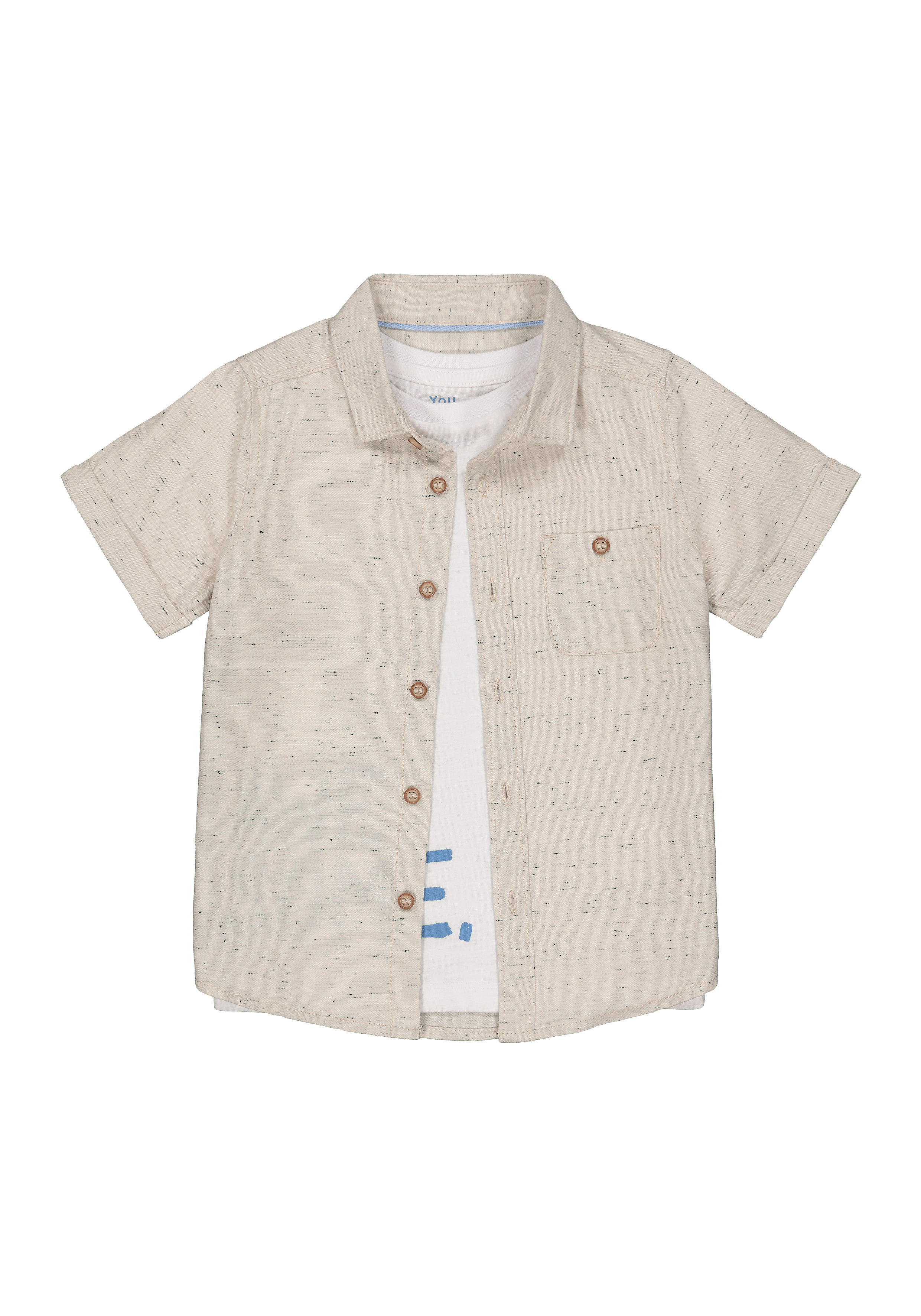 Mothercare | Boys Half Sleeves Shirt And T-Shirt Set Text Print - Beige White