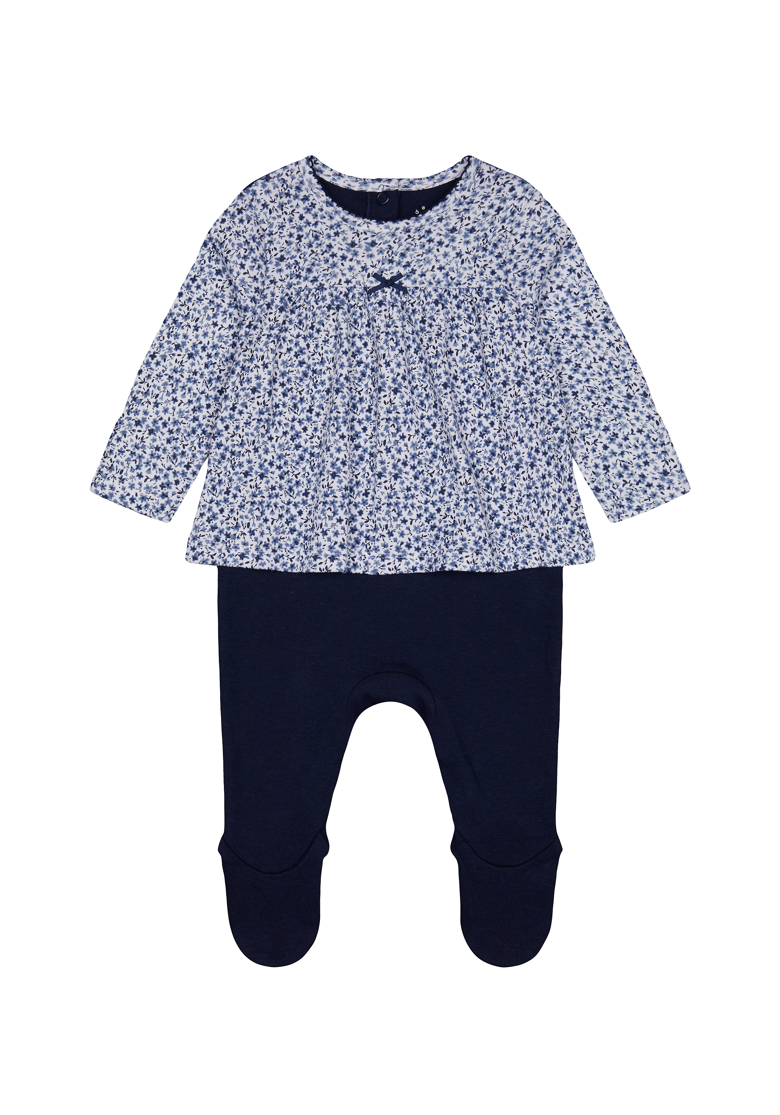 Mothercare | Girls Full Sleeves Mock Romper Floral Print - Navy