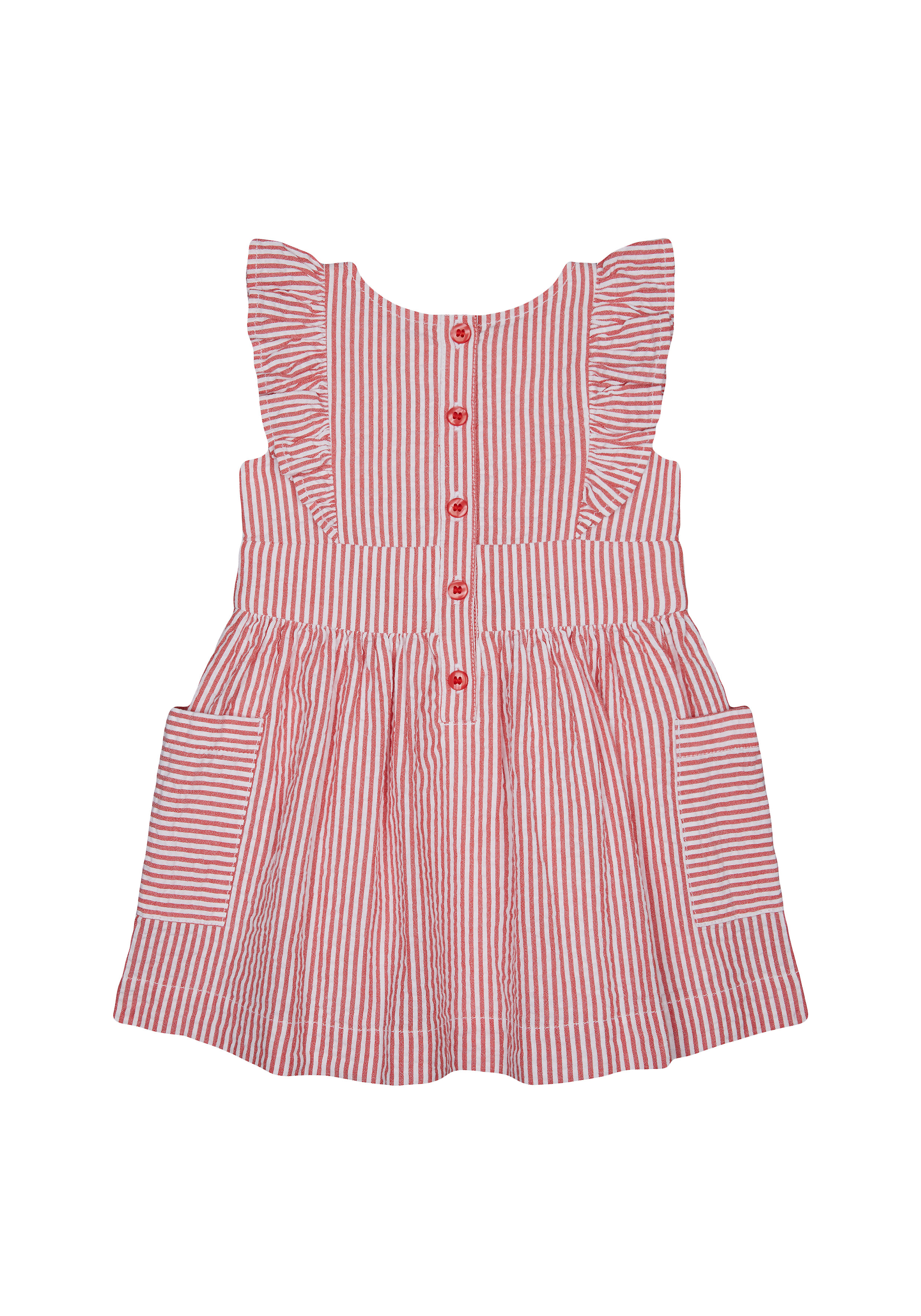 Mothercare | Girls Red Striped Seersucker Dress - Multicolor