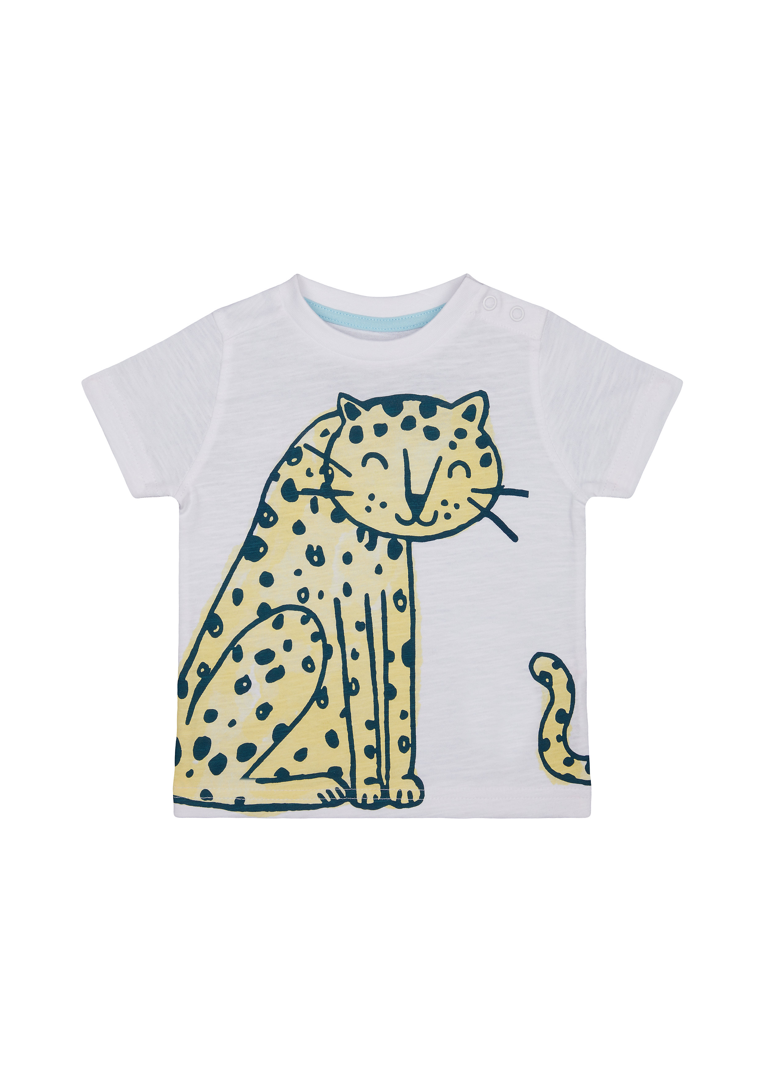 Mothercare | Boys Half Sleeves T-Shirt Leopard Print - White