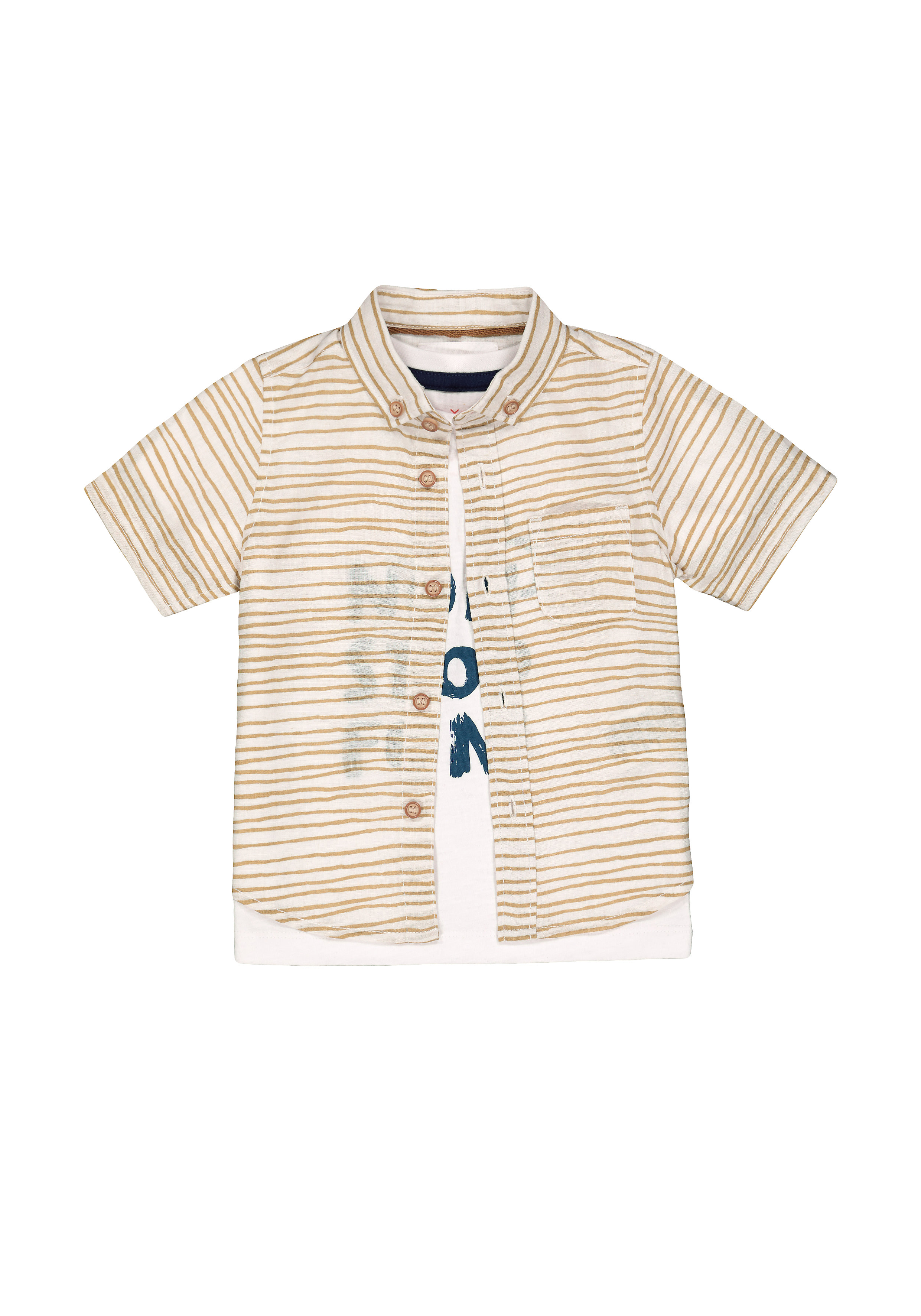 Mothercare | Boys Half Sleeves Shirt And T-Shirt Set Stripe Text Print - White Beige