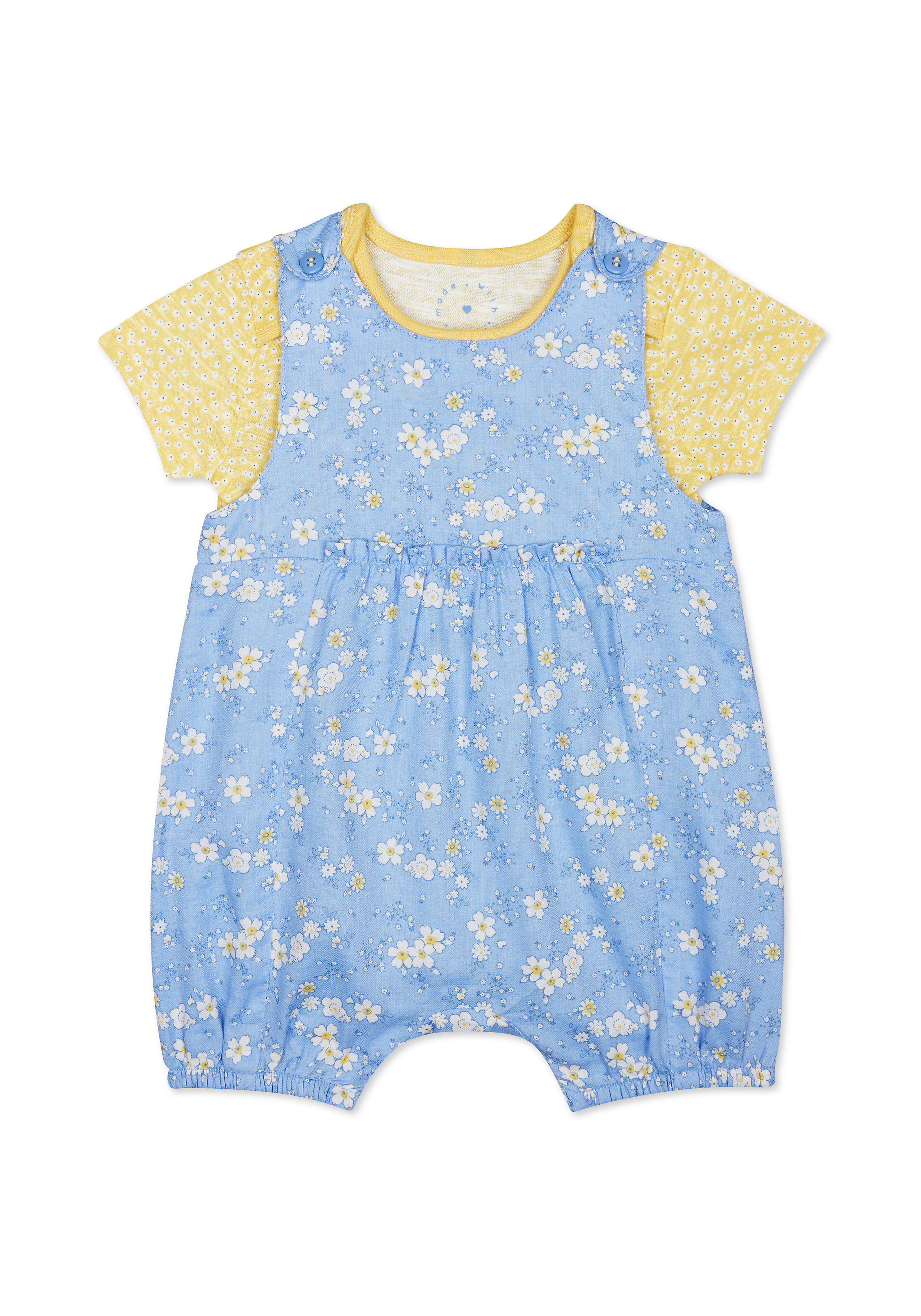 Mothercare | Girls Half Sleeves Dungaree Set Floral Print - Blue Yellow