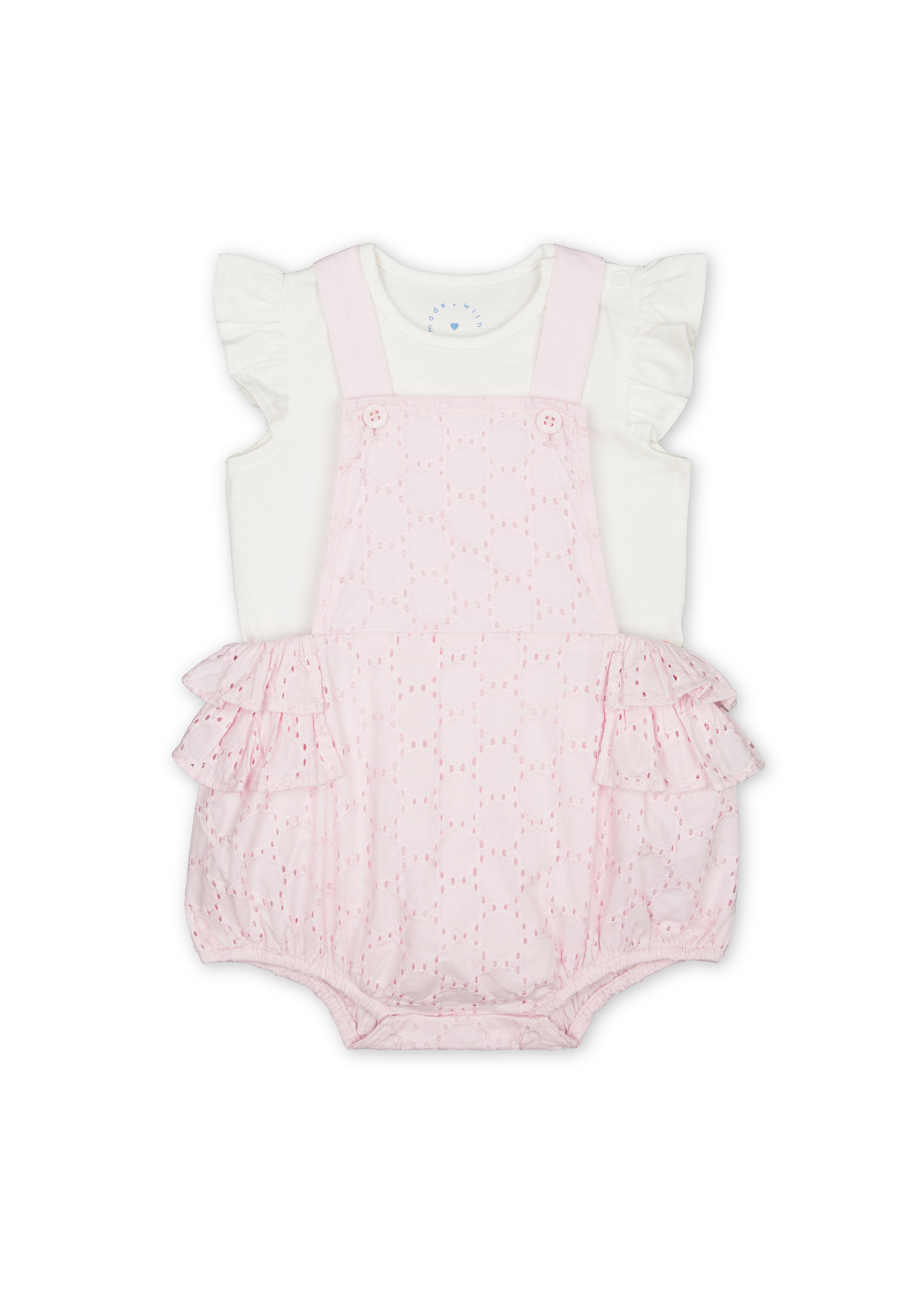 Mothercare   Girls Half Sleeves Schiffli Dungaree Set Frill Detail - Pink
