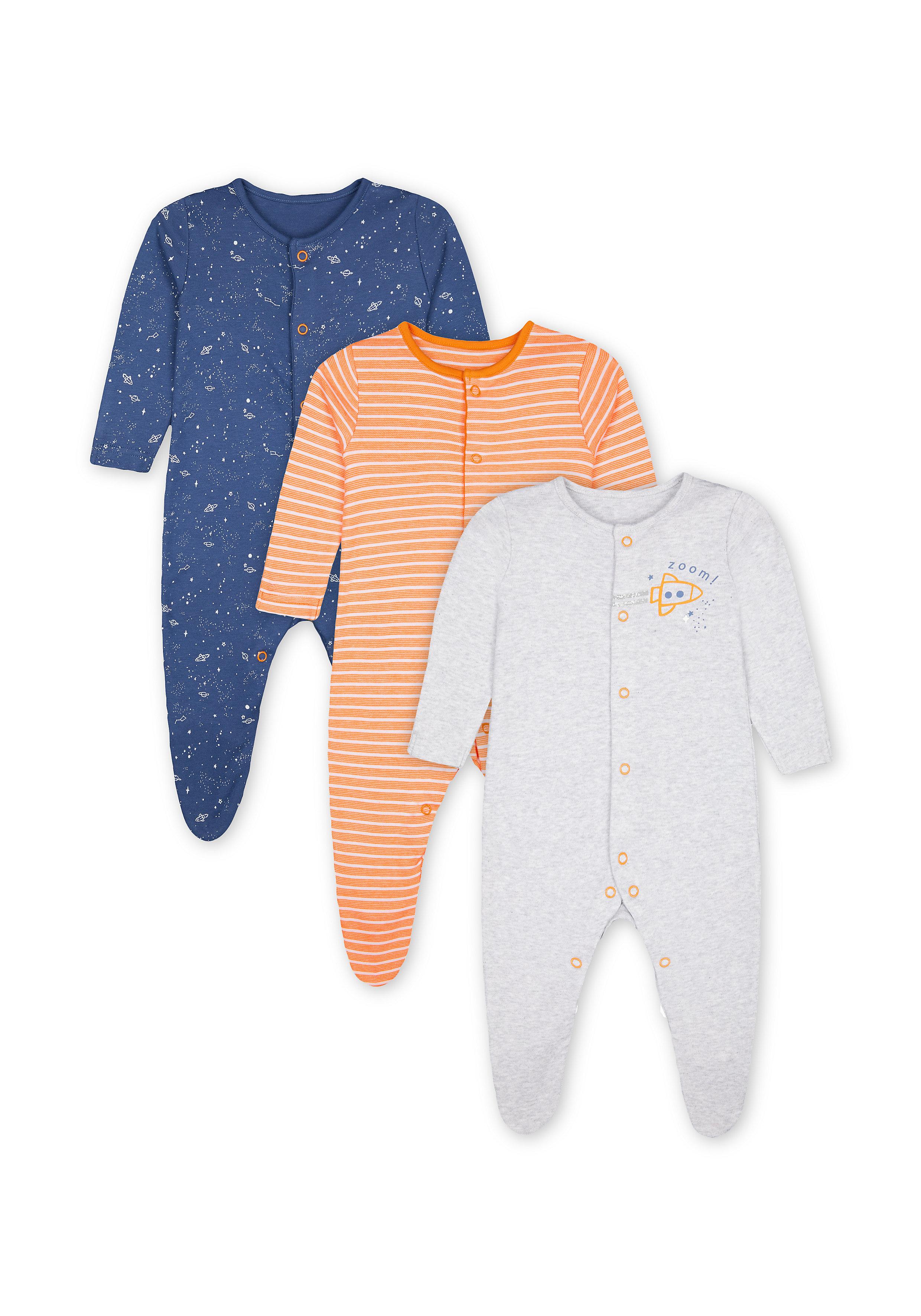 Mothercare   Boys Sleepsuit Space Print - Pack Of 3 - Orange Navy Grey