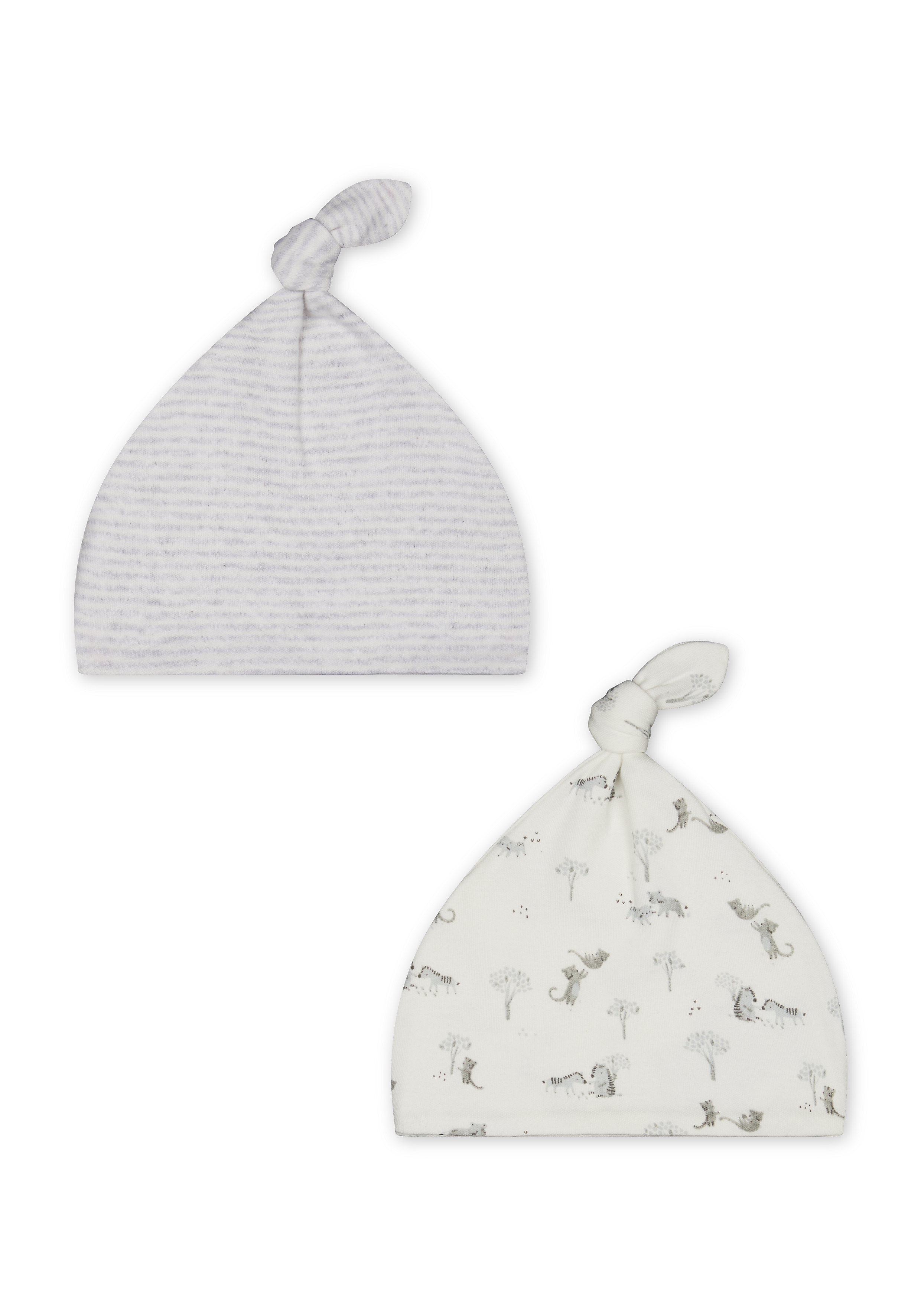 Mothercare | Unisex Top Knot Hats Stripe And Animal Print - Pack Of 2 - White Grey