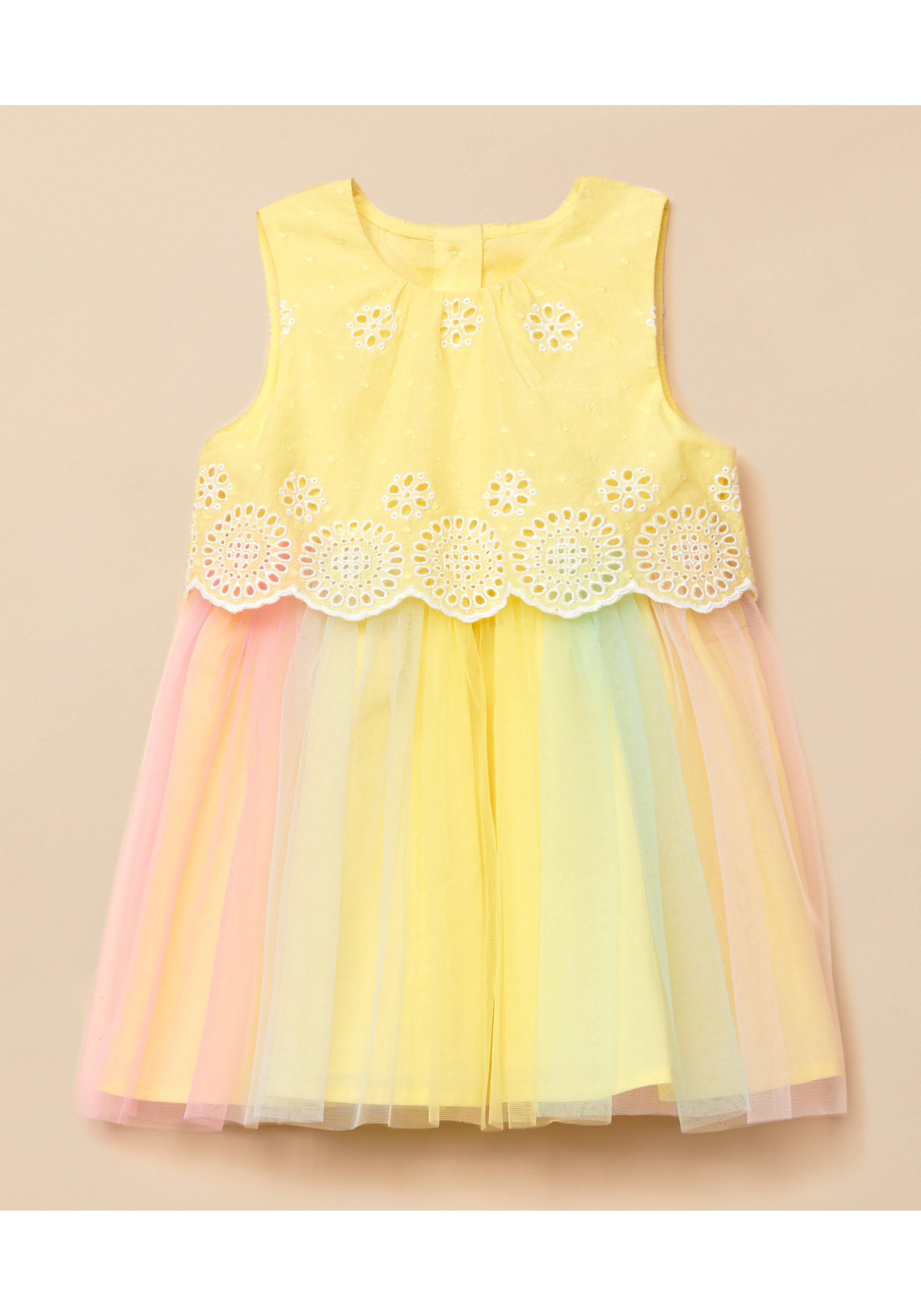 Mothercare | Girls Sleeveless Mesh Dress Schiffli Detail - Yellow