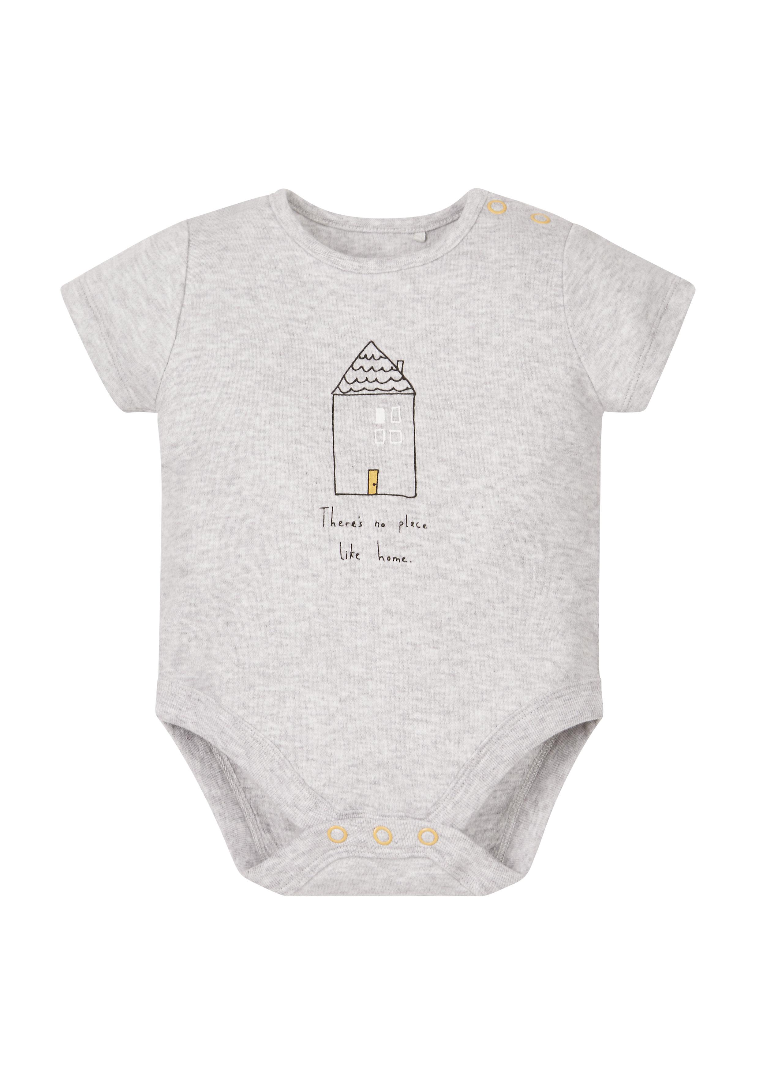 Mothercare | Unisex Full Sleeves Bodysuit House Print - Grey