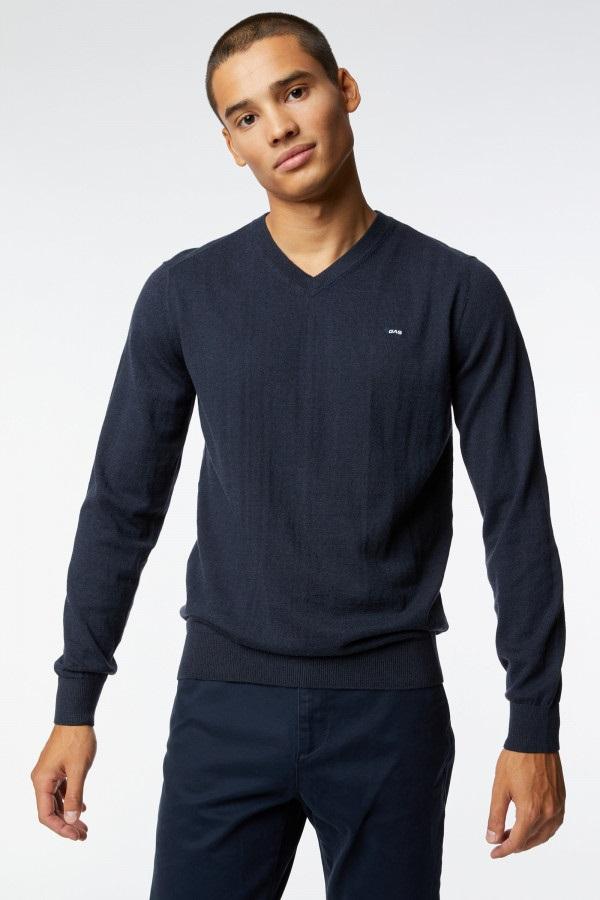 GAS | Navy Blue Men's Ayron V/S Fr Solid Sweater