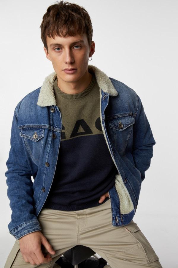 GAS | Navy Blue Men's Edvin/R Colour Block Sweater