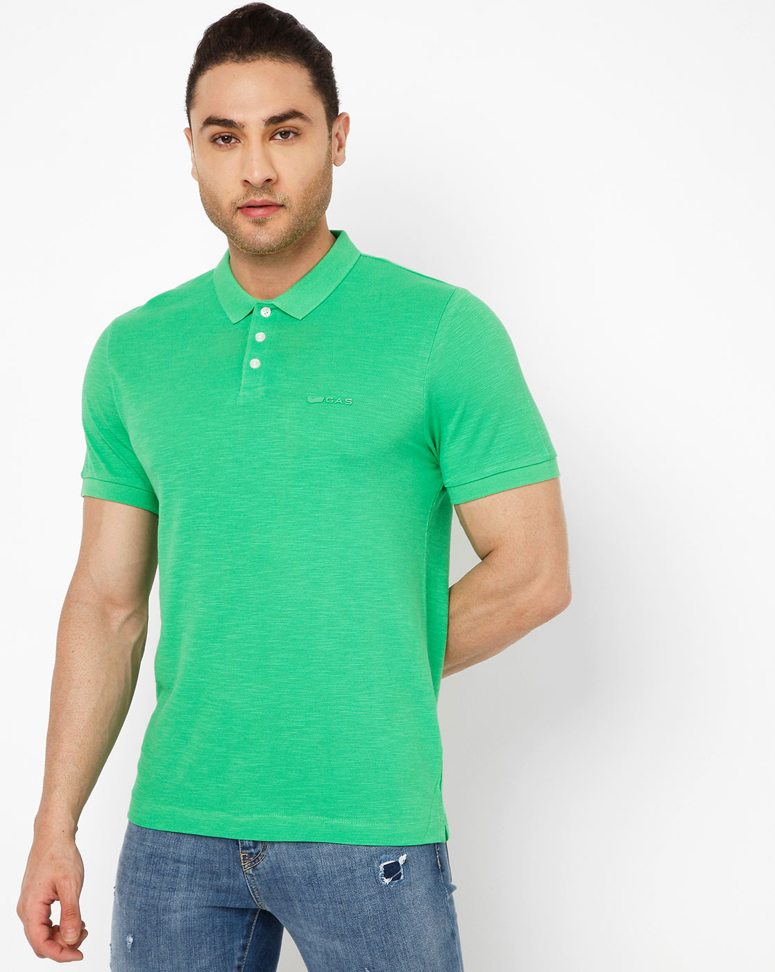 GAS   Men's Ralph Fluo In Green Solid Polo