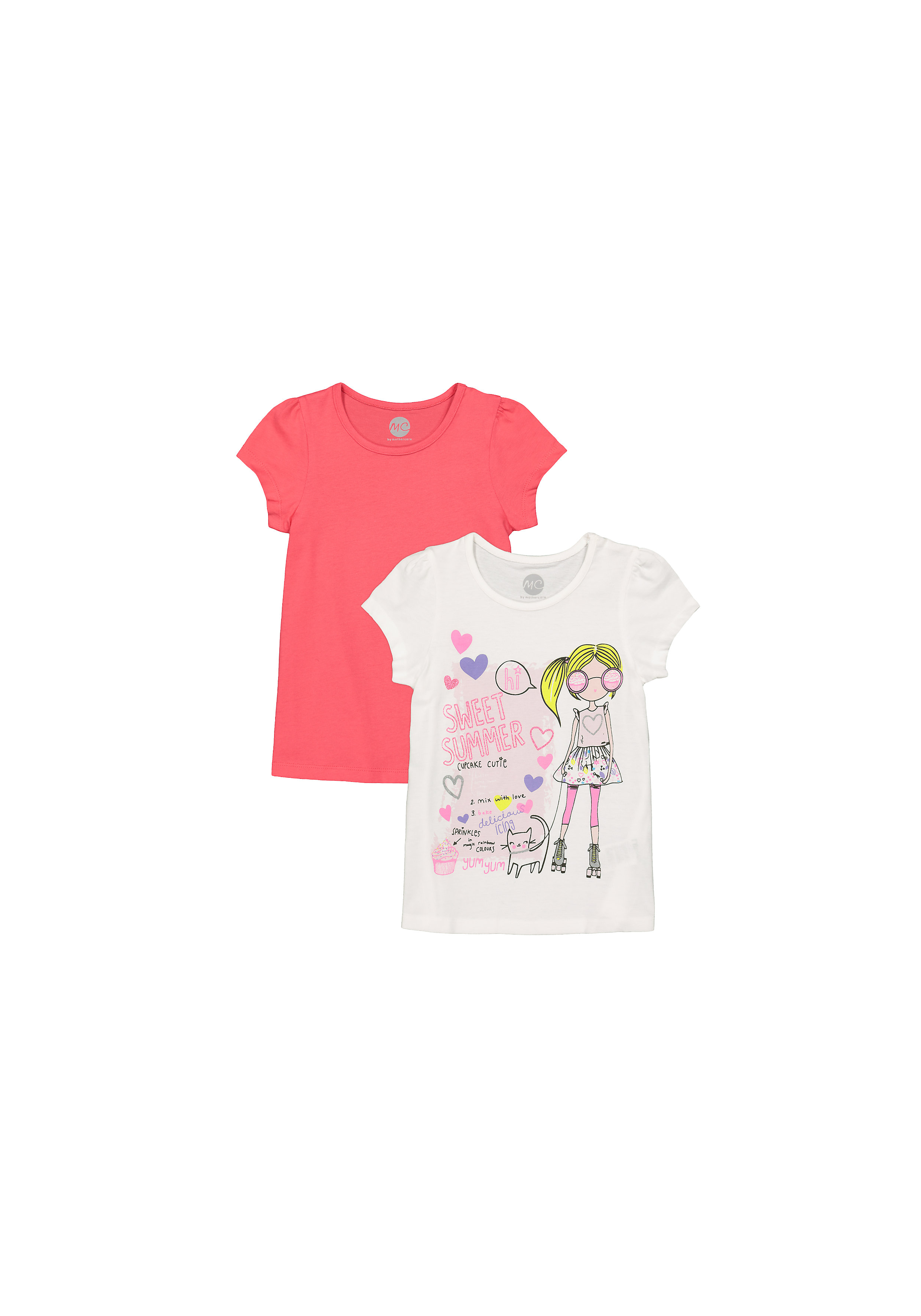 Mothercare | Girls Half Sleeves T-Shirt Girl And Text Print - Pack Of 2 - Red White