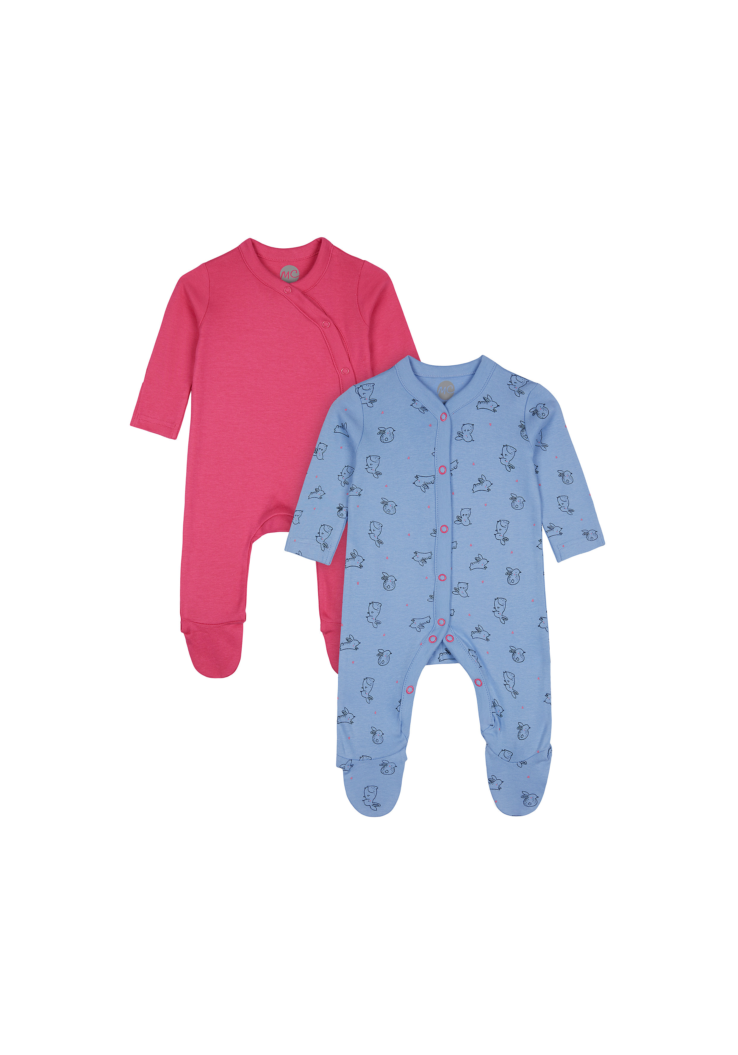 Mothercare | Girls Full Sleeves Romper Bunny Print - Pack Of 2 - Pink Blue