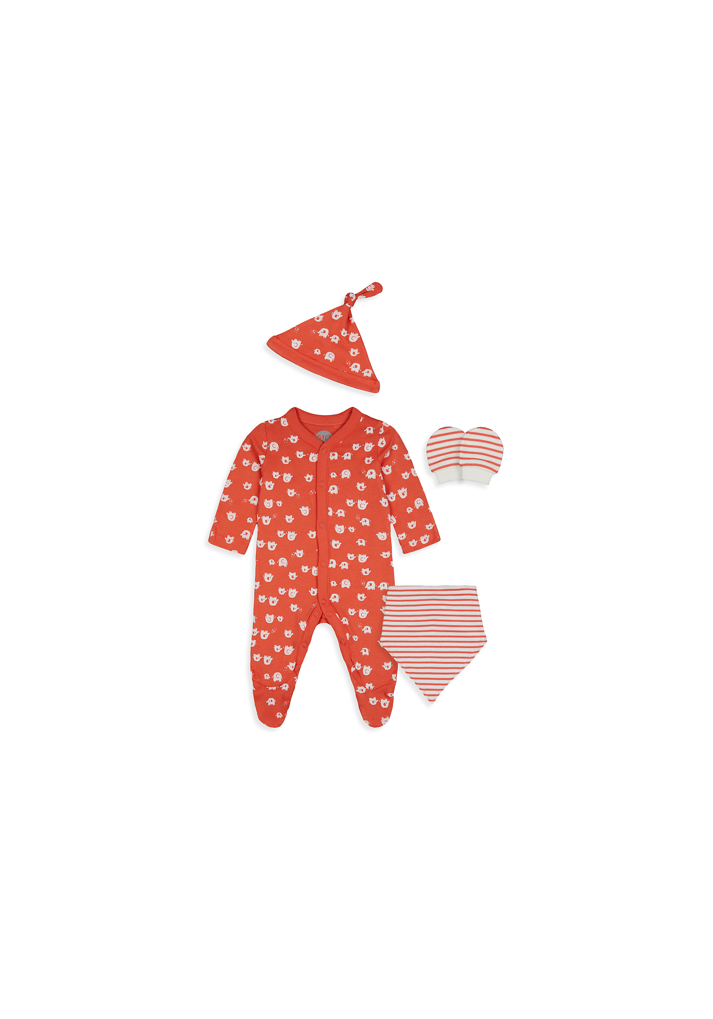Mothercare | Unisex 4 Piece Set Elephant - Orange