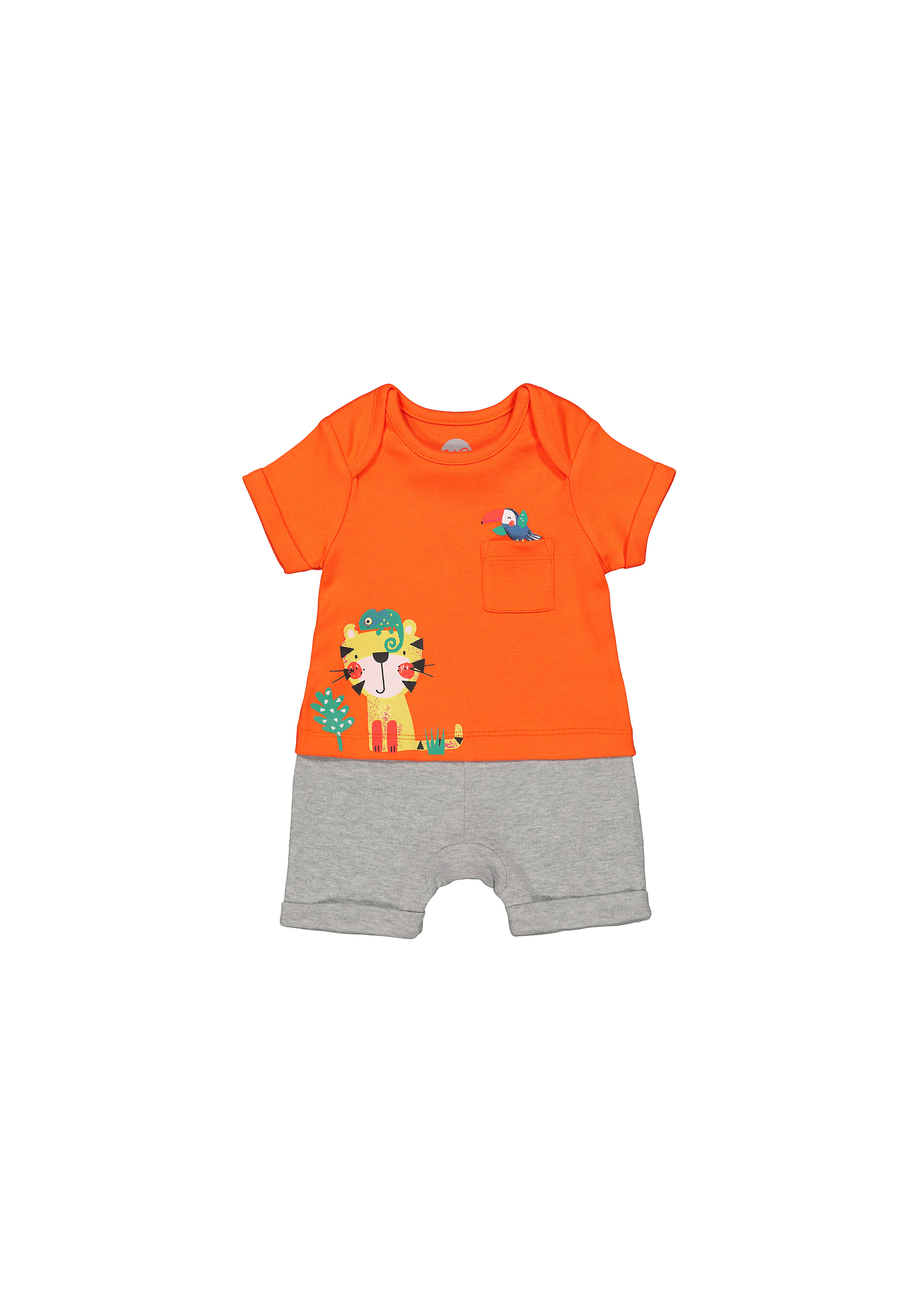 Mothercare | Boys Half Sleeves Mock Romper Tiger Print - Orange Grey
