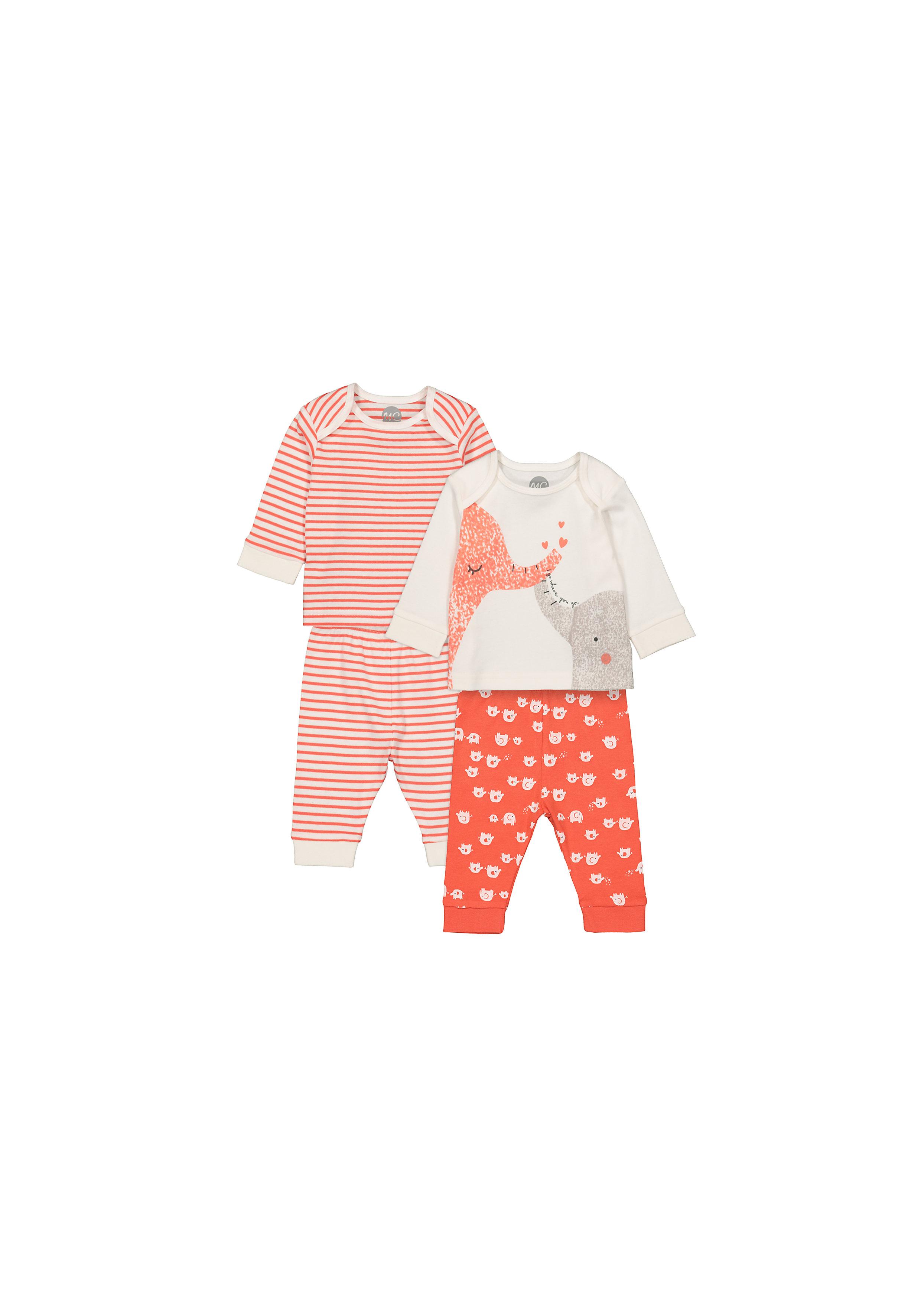 Mothercare | Unisex Full Sleeves Pyjamas Stripes And Elephant Print - Pack Of 2 - Orange White