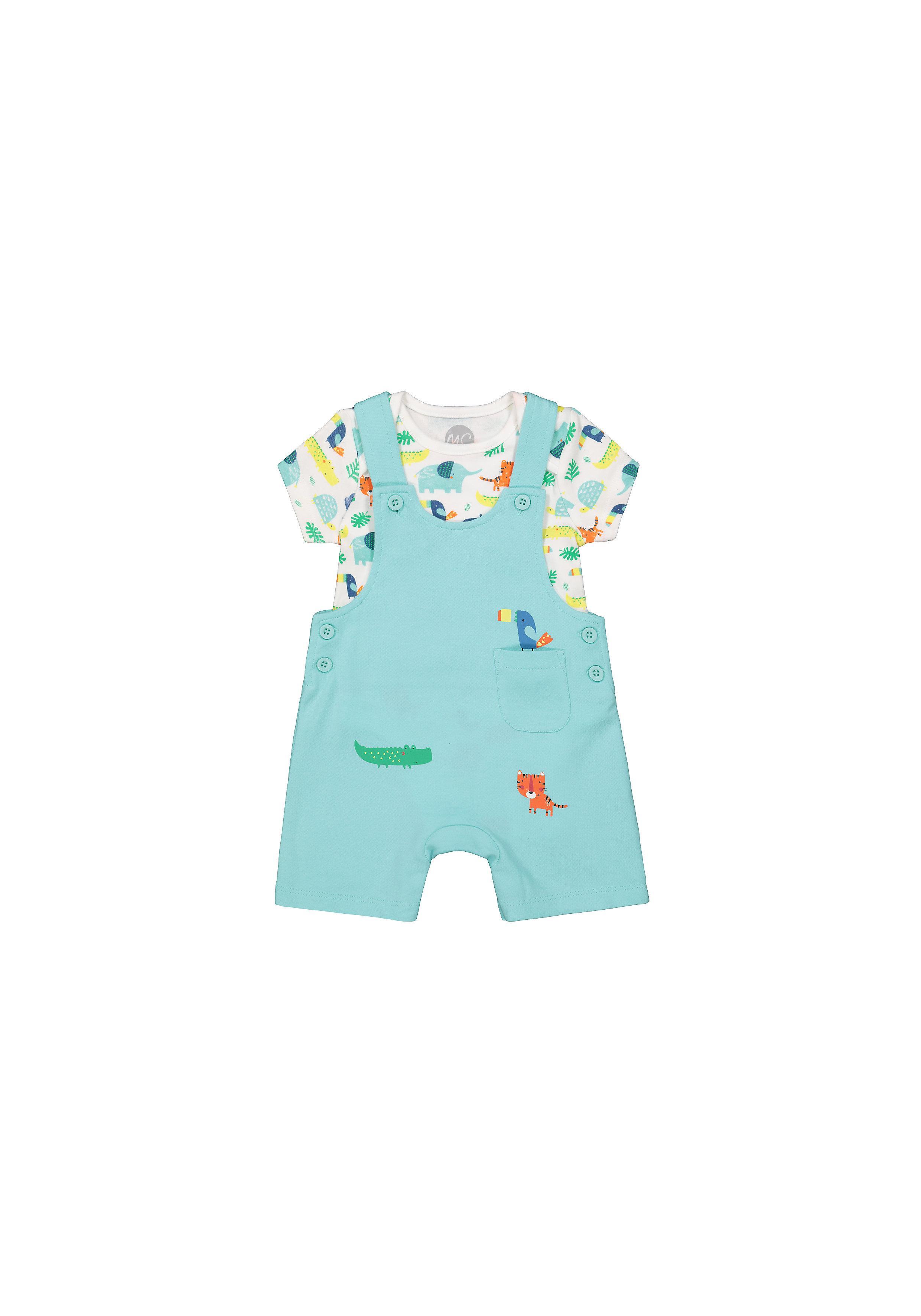 Mothercare | Boys Half Sleeves Dungaree Set Animal Print - Blue White