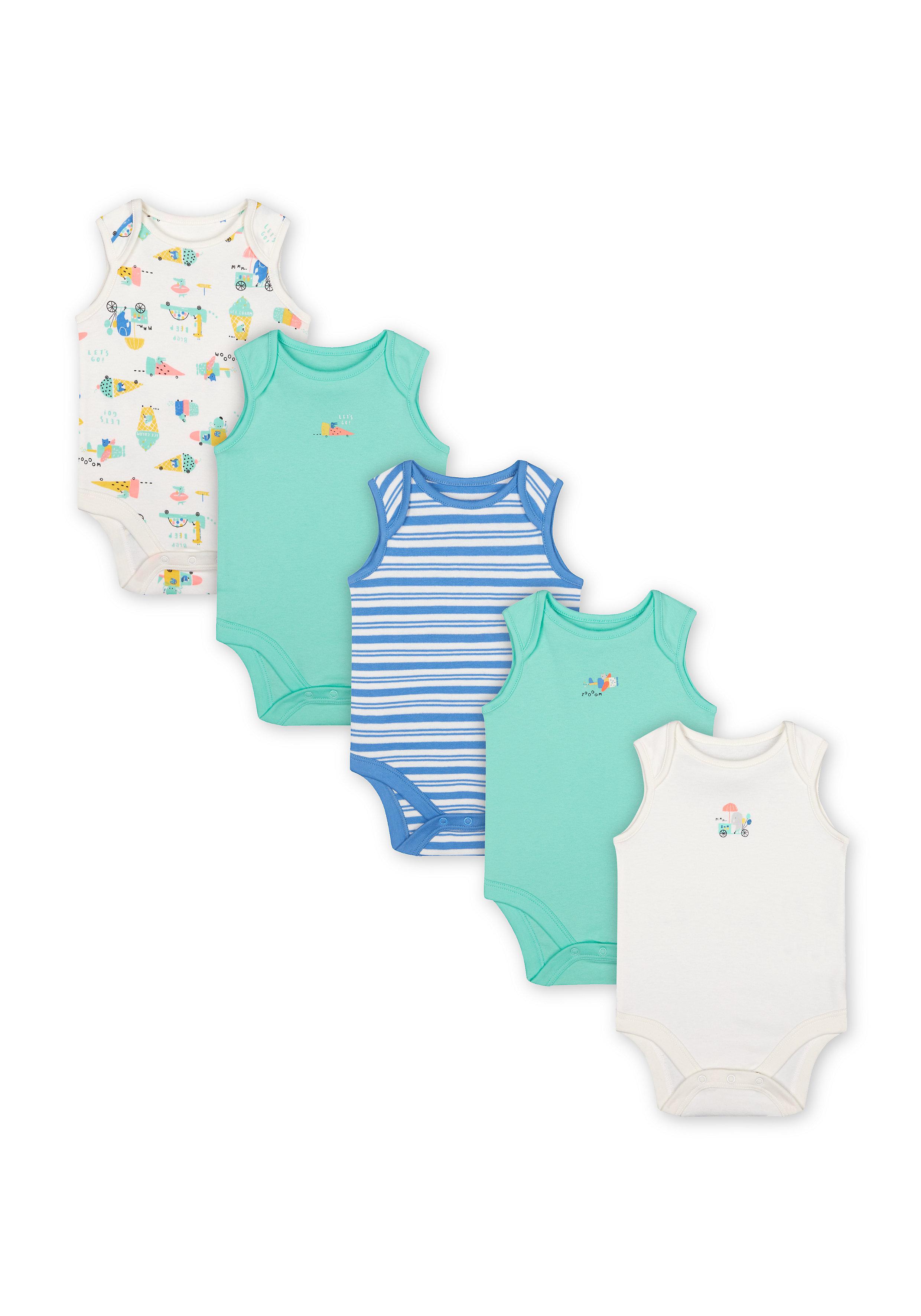 Mothercare | Boys Sleeveless Bodysuit Stripes And Ice Cream Print - Pack Of 5 - Green Blue White