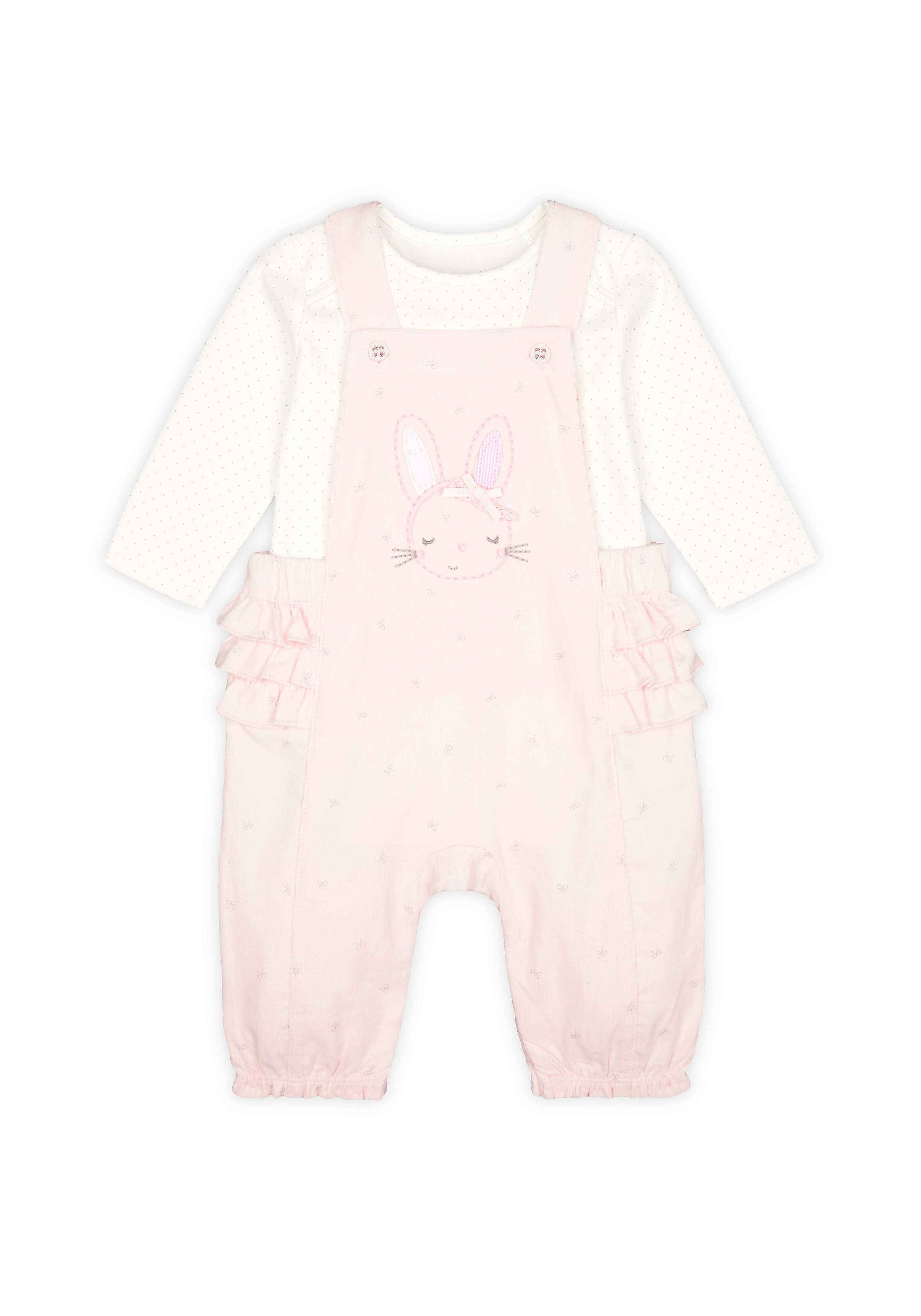 Mothercare   Girls Full Sleeves Cord Dungaree Set Bunny Embroidery With Frill Details - Pink