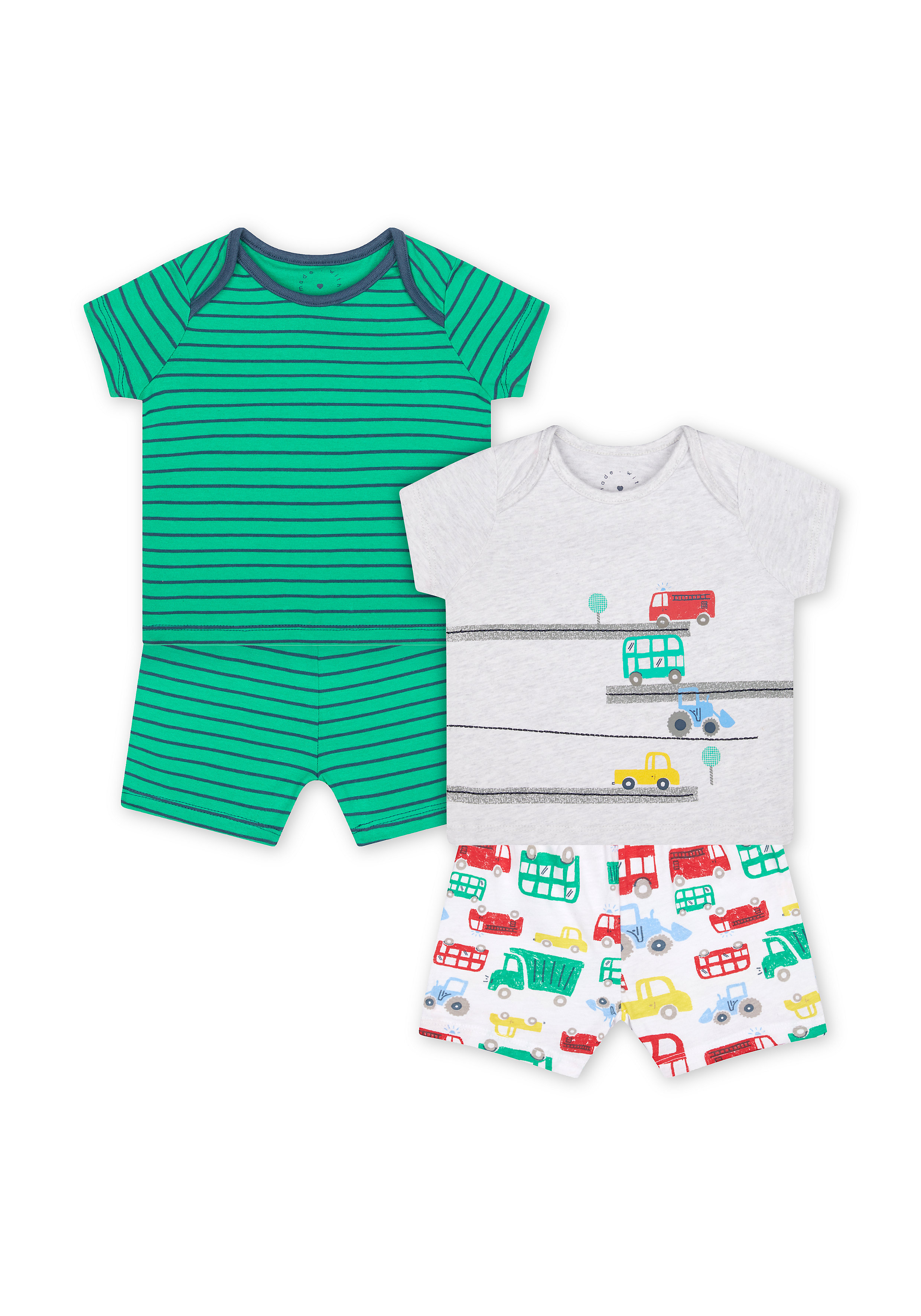 Mothercare   Boys Half Sleeves Shorts Sets - Pack Of 2 - Multicolor
