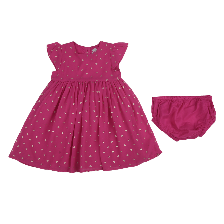 Mothercare | Girls Half sleeves Printed Dress - Pink