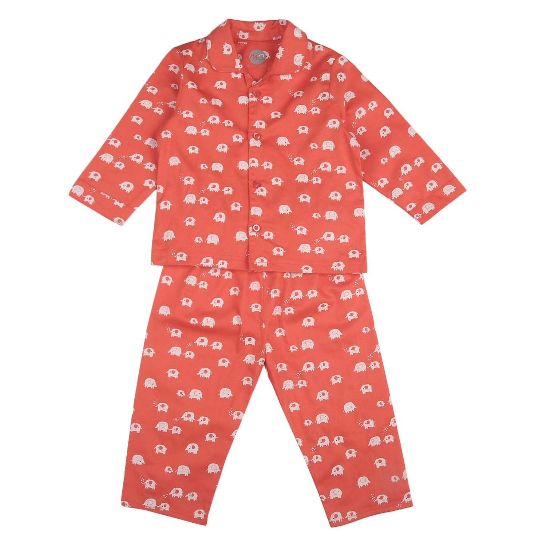 Mothercare | Unisex Full sleeves Elephant print Pyjamas - Orange