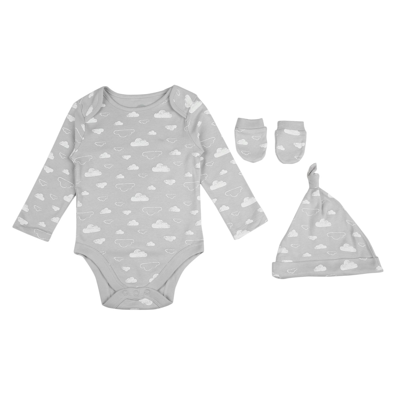 Mothercare | Unisex Half sleeves Cloud print 3 piece set - Grey