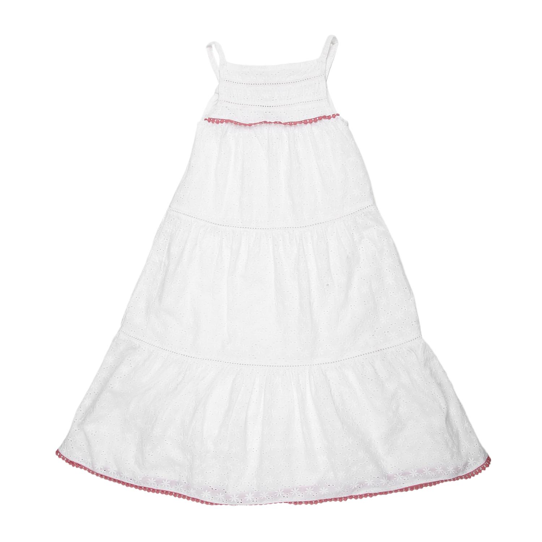 Mothercare | Girls Sleeveless Tiered Dress - White