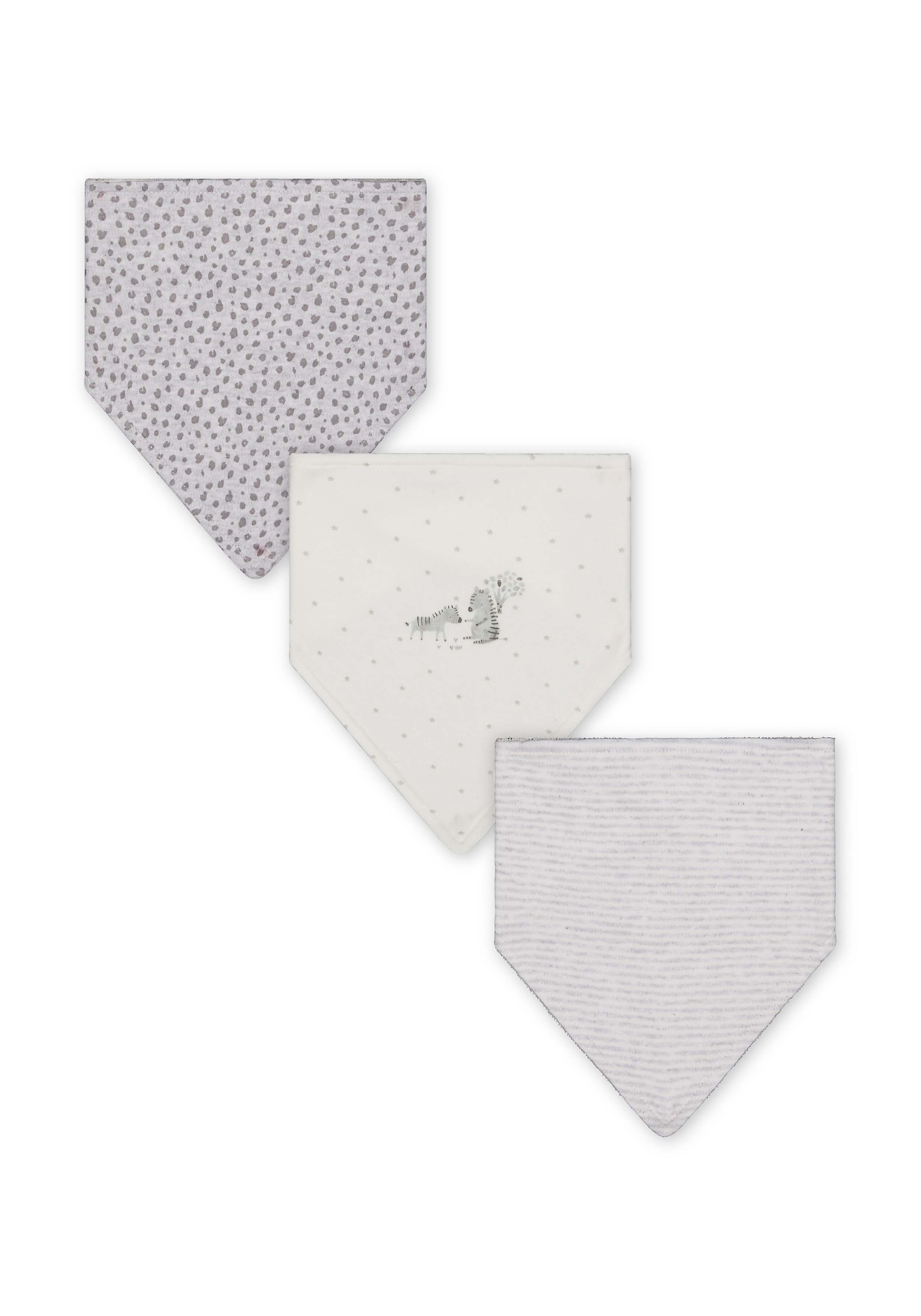 Mothercare | Unisex Bibs Leopard Print - Pack Of 3 - Grey