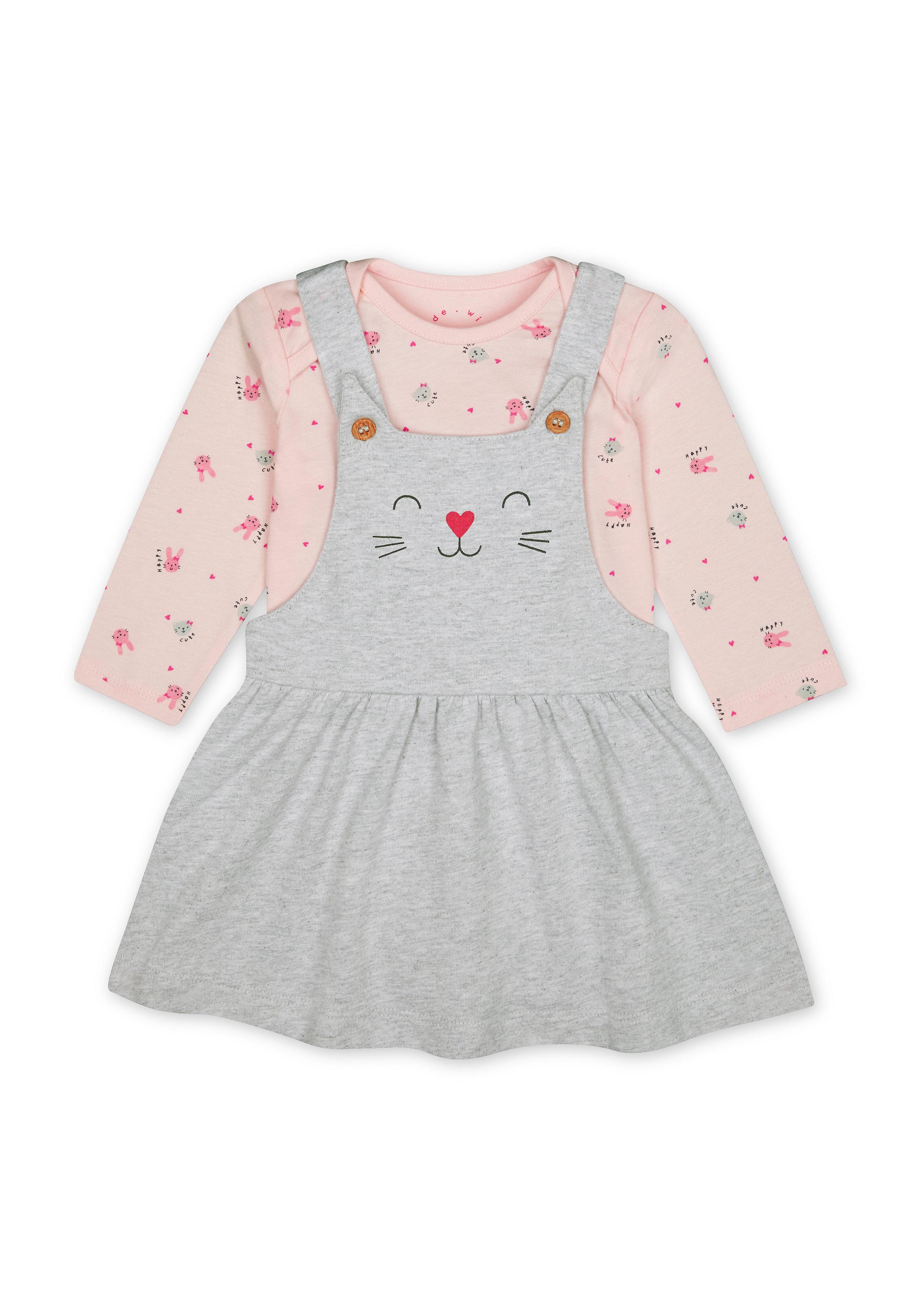 Mothercare | Girls Full Sleeves Cat Print  Dress And Bodysuit Set - Grey