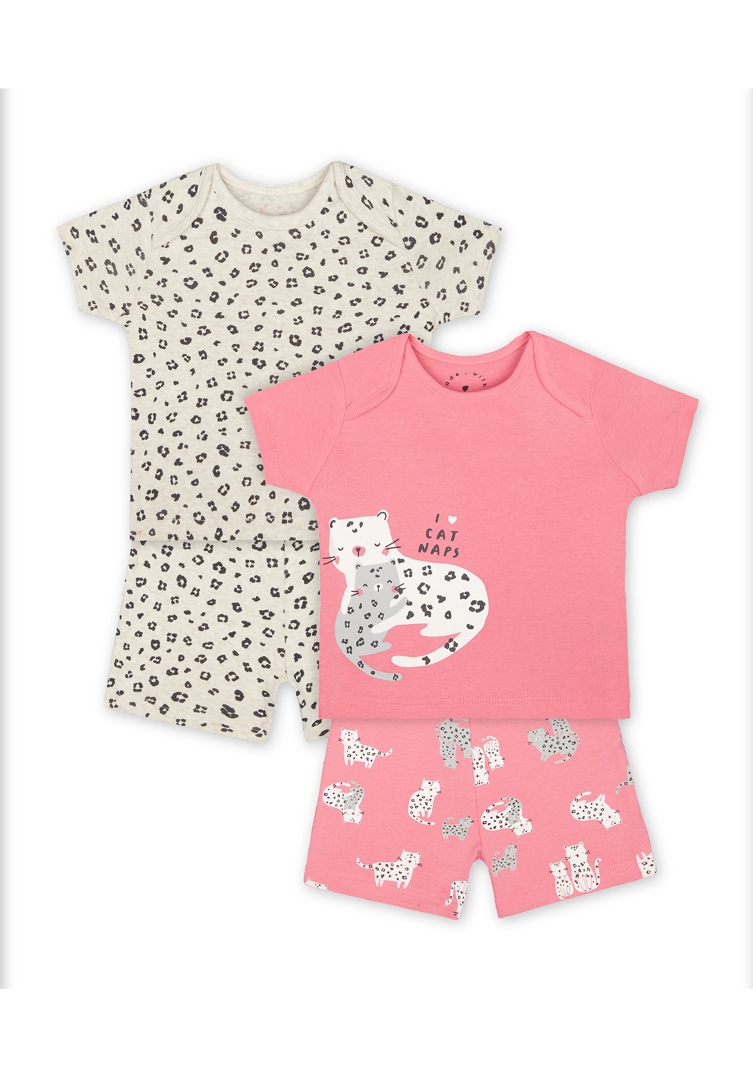 Mothercare   Girls Half Sleeves Shorts Sets - Pack Of 2 - Pink