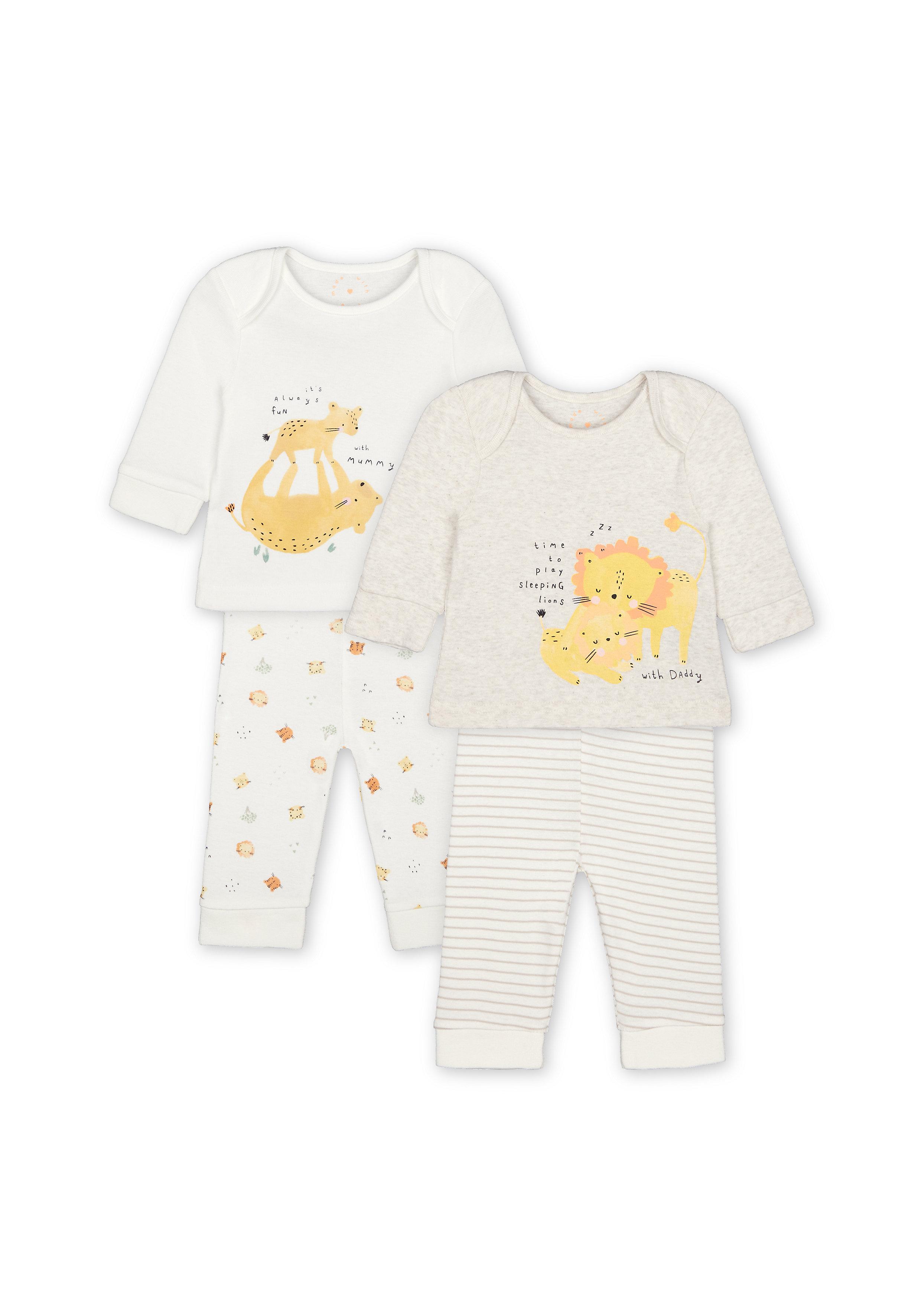 Mothercare | Unisex Full Sleeves Lion Print Pyjamas - Pack Of 2 - White Grey
