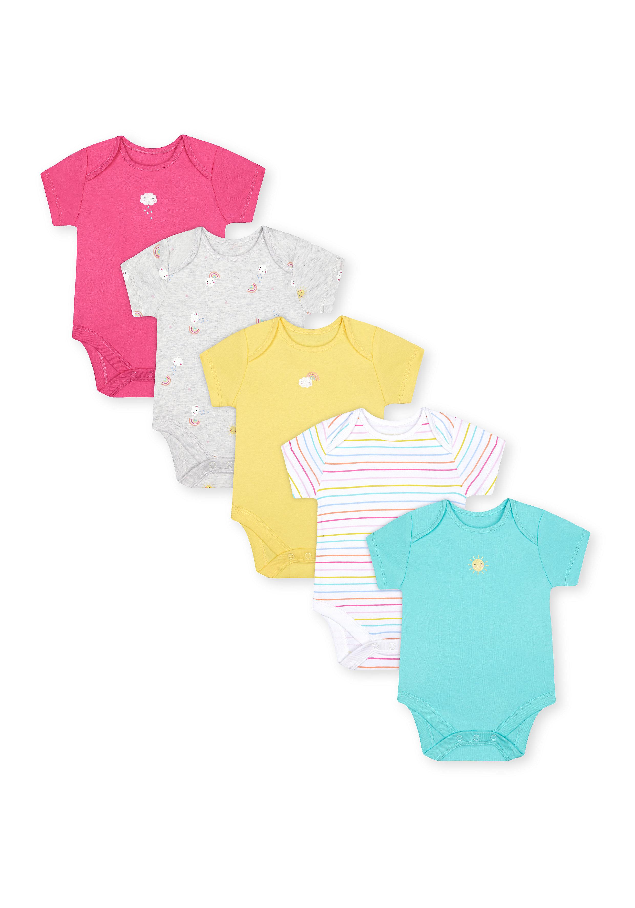 Mothercare | Girls Half Sleeves Bodysuit - Pack Of 5 - Multicolor