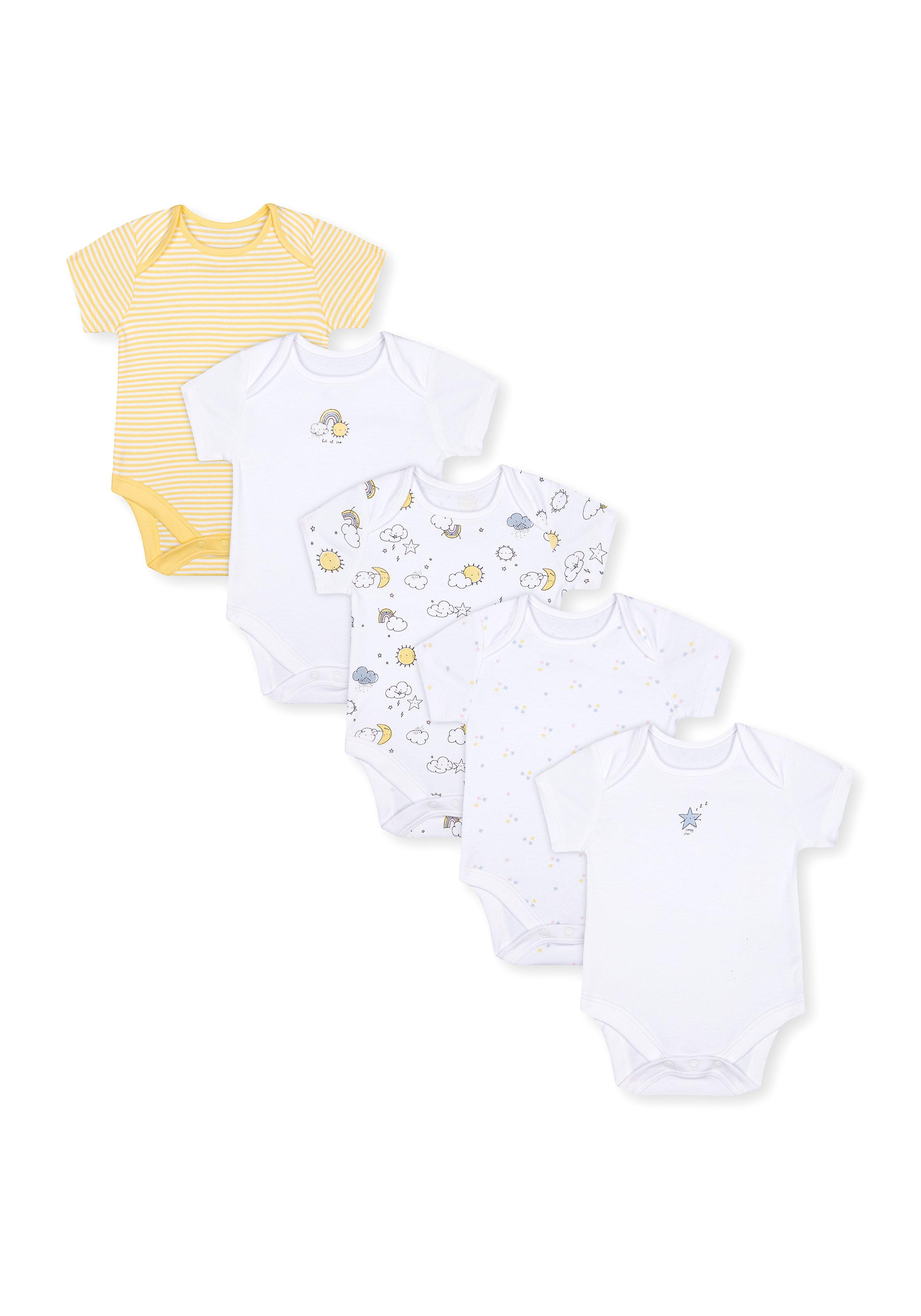 Mothercare | Unisex Half Sleeves Bodysuit - Pack Of 5 - Yellow