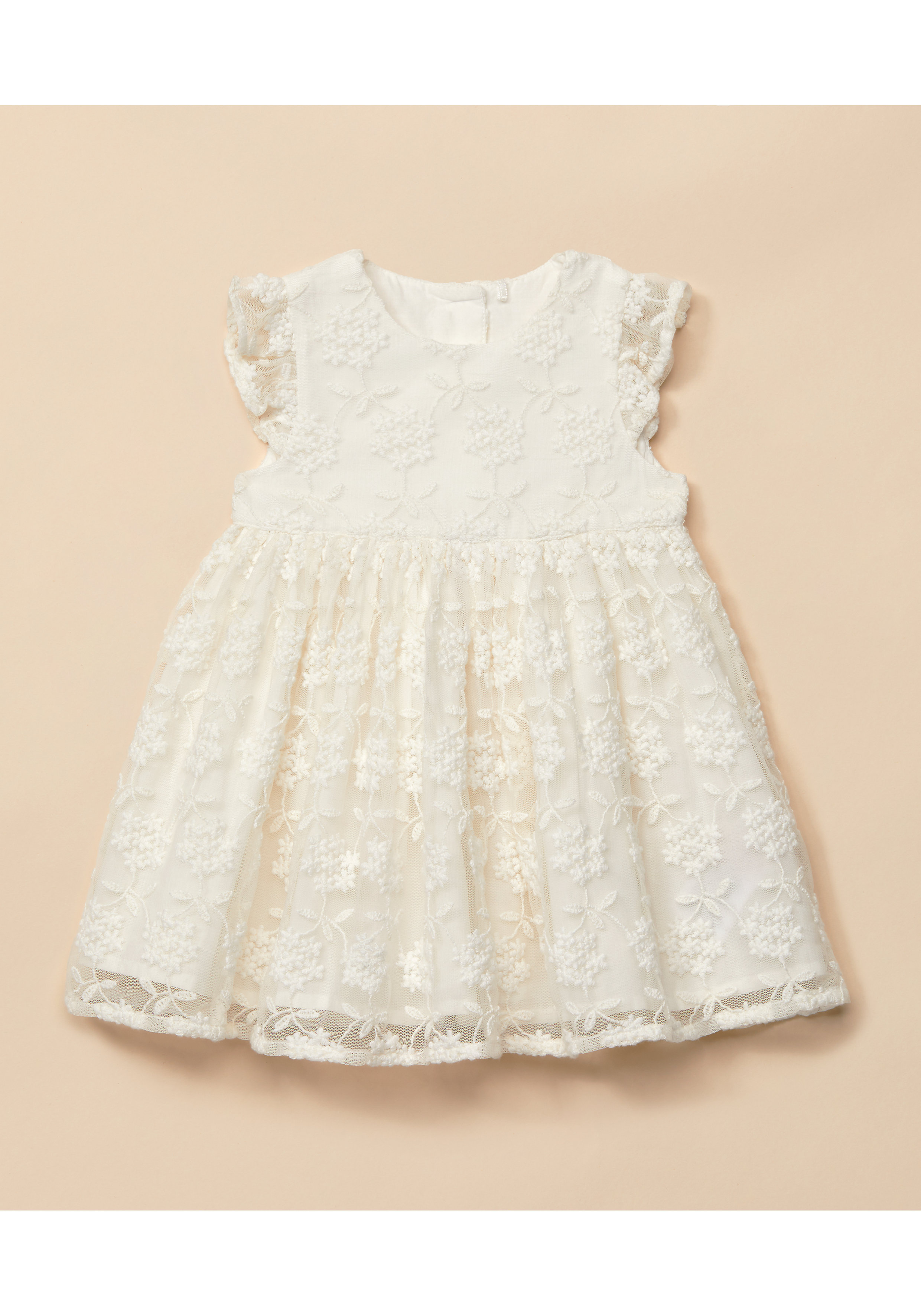 Mothercare | Girls Half Sleeves Floral Embroidery Mesh Dress - White