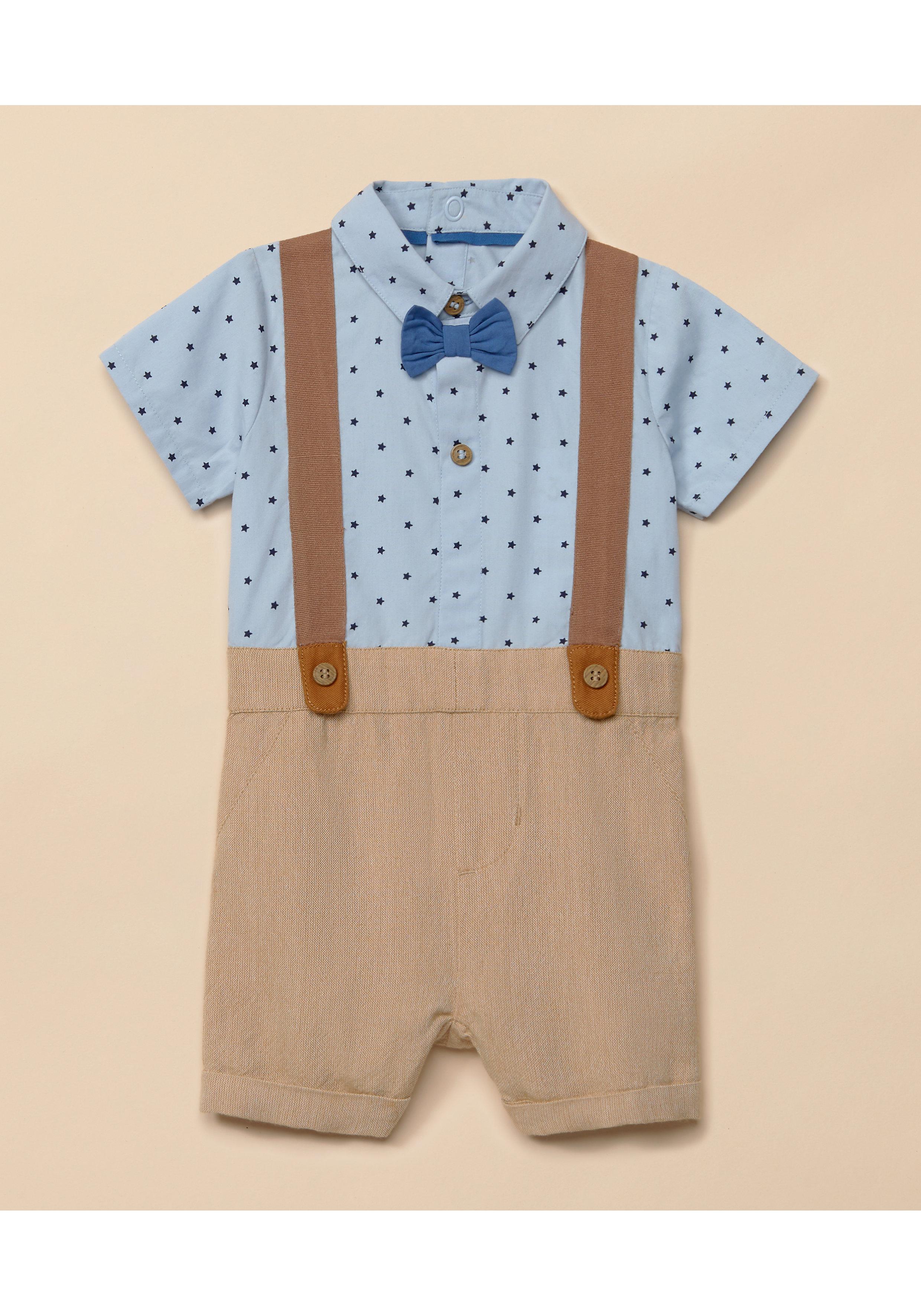 Mothercare | Boys Half Sleeves Braces  Romper - Blue Brown