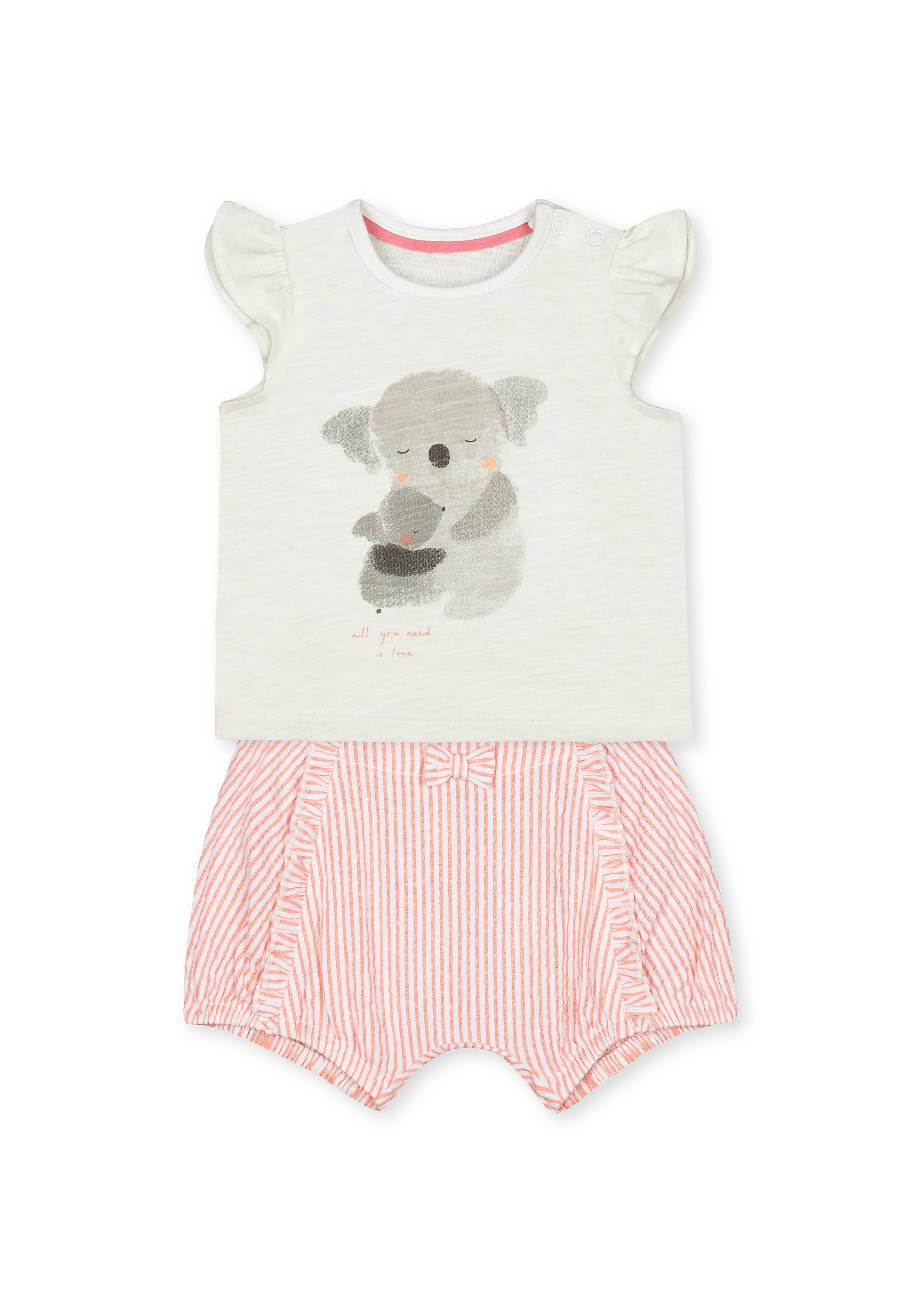 Mothercare | Girls Half Sleeves Koala Print Tee And Shorts Set - Pink White