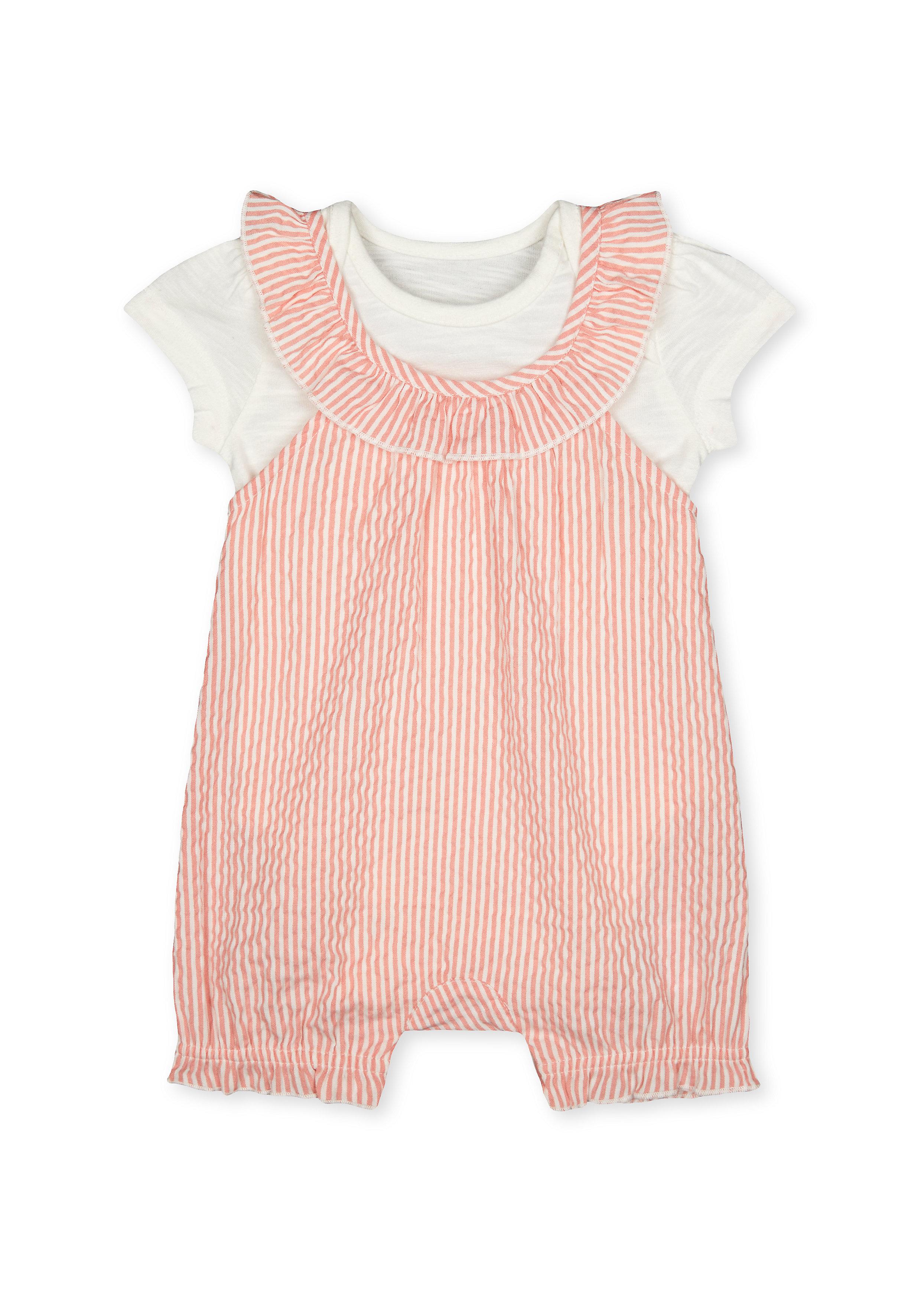 Mothercare   Girls Half Sleeves Striped Dungaree Set - Pink