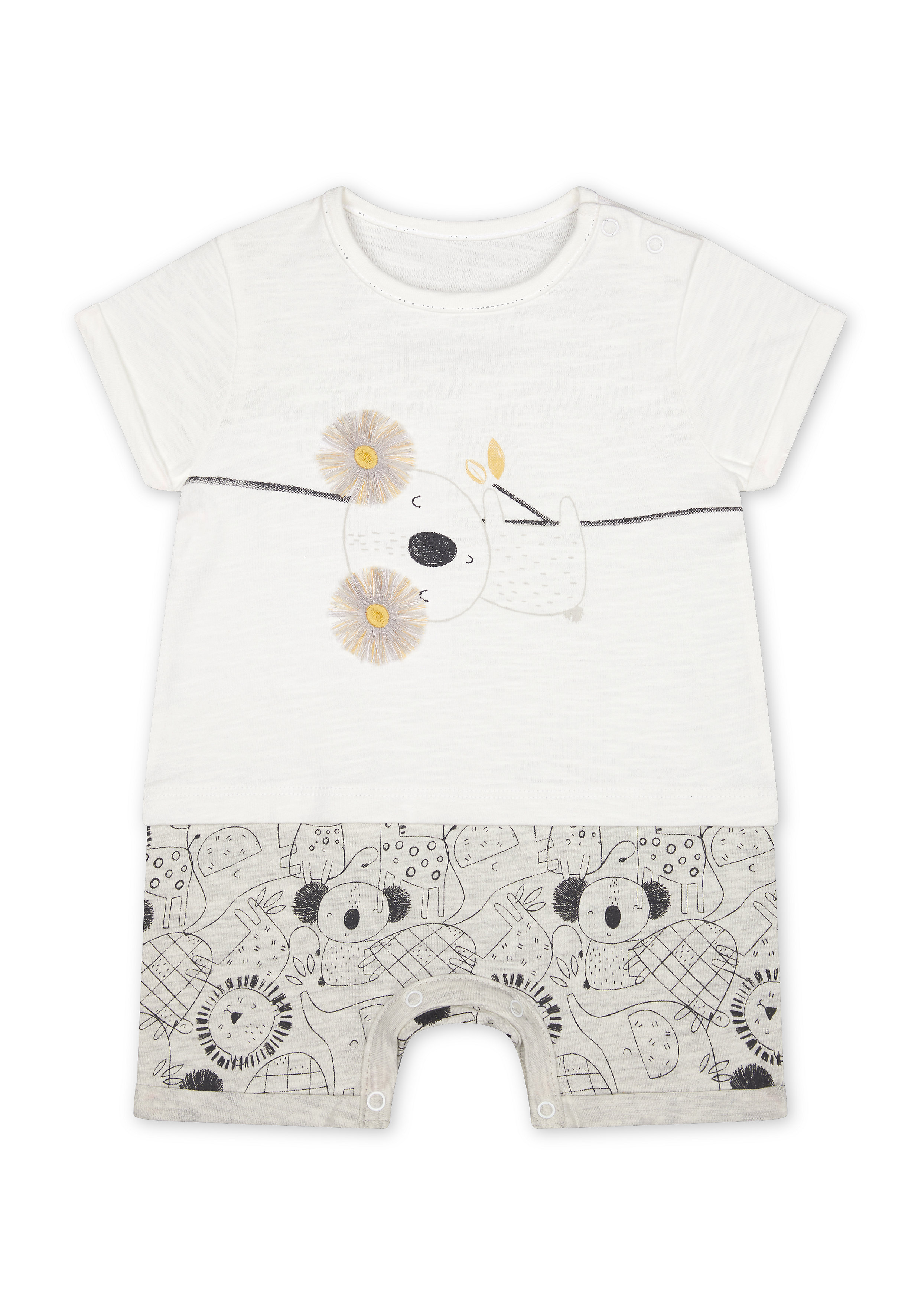Mothercare | Boys Half Sleeves Rompers  - White