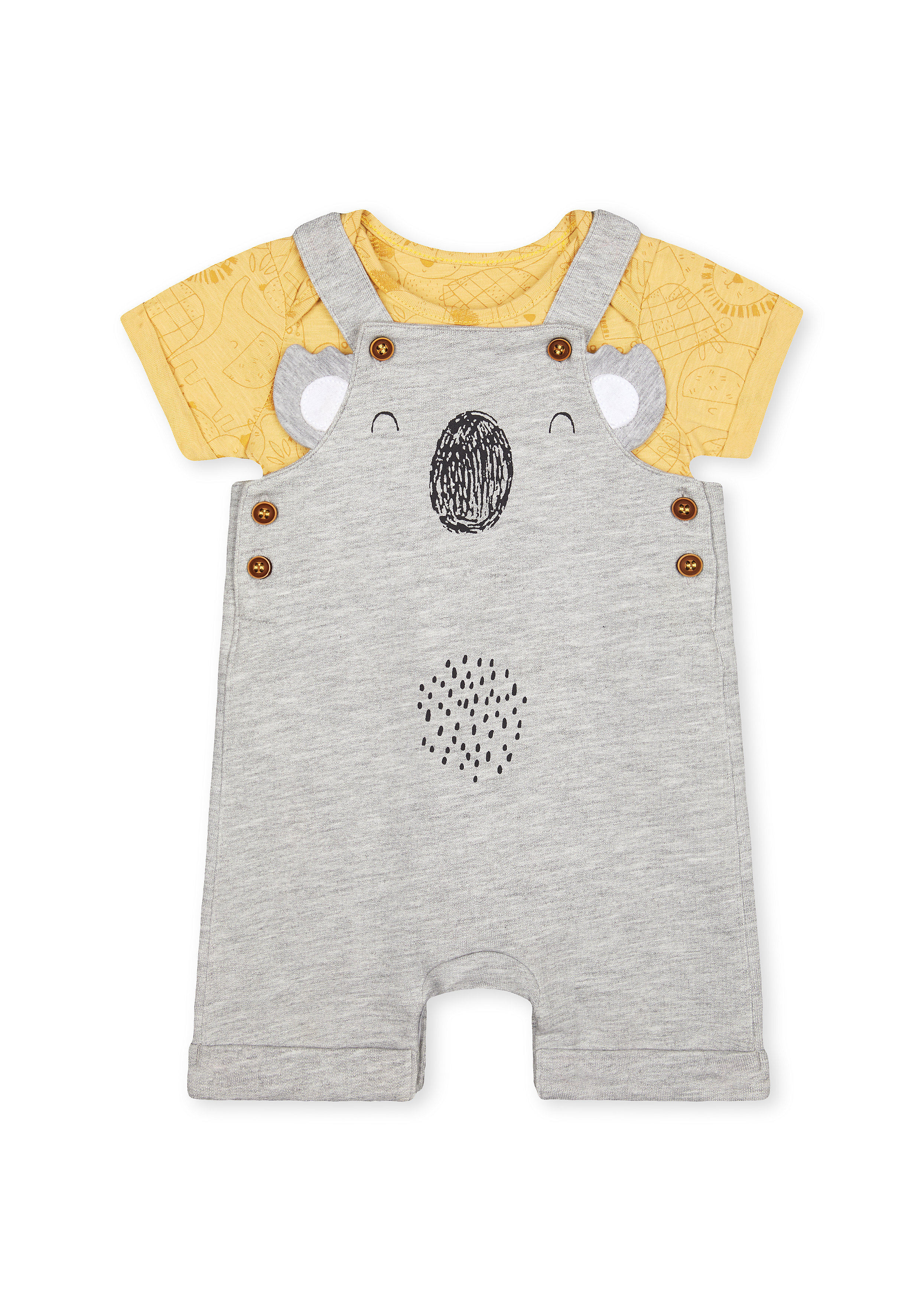 Mothercare | Boys Half Sleeves Dungaree Sets  - Pack Of 2 - Grey
