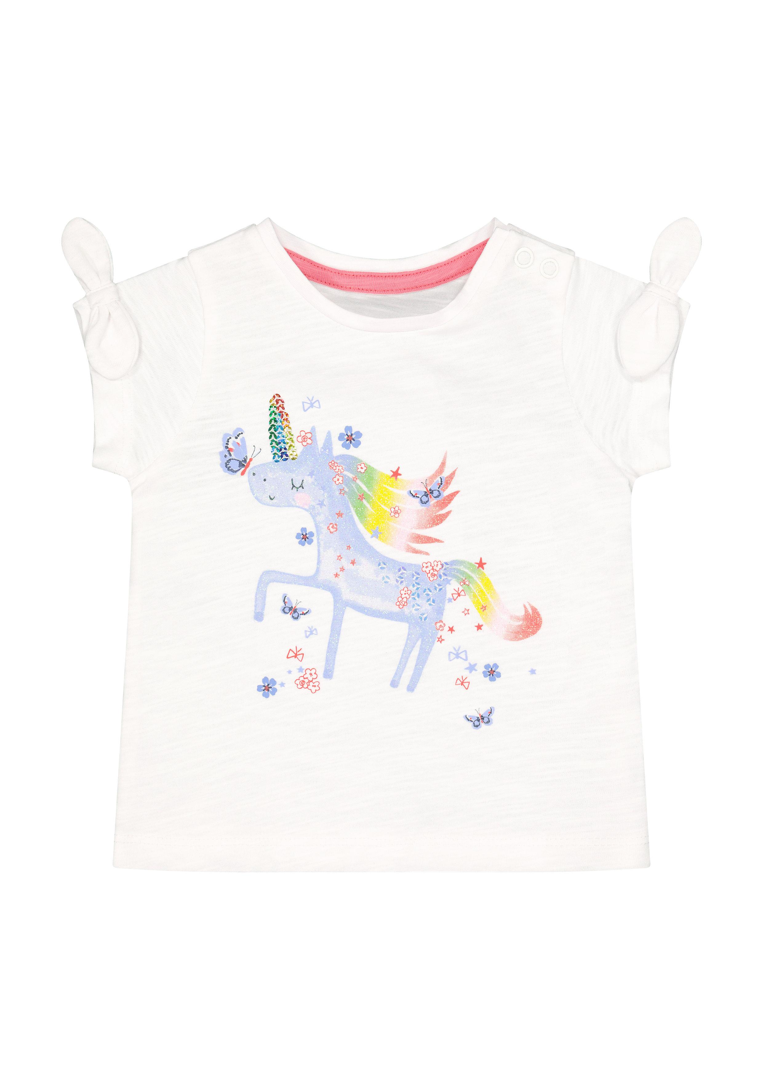 Mothercare | Girls Half Sleeves Round Neck T-shirts  - White