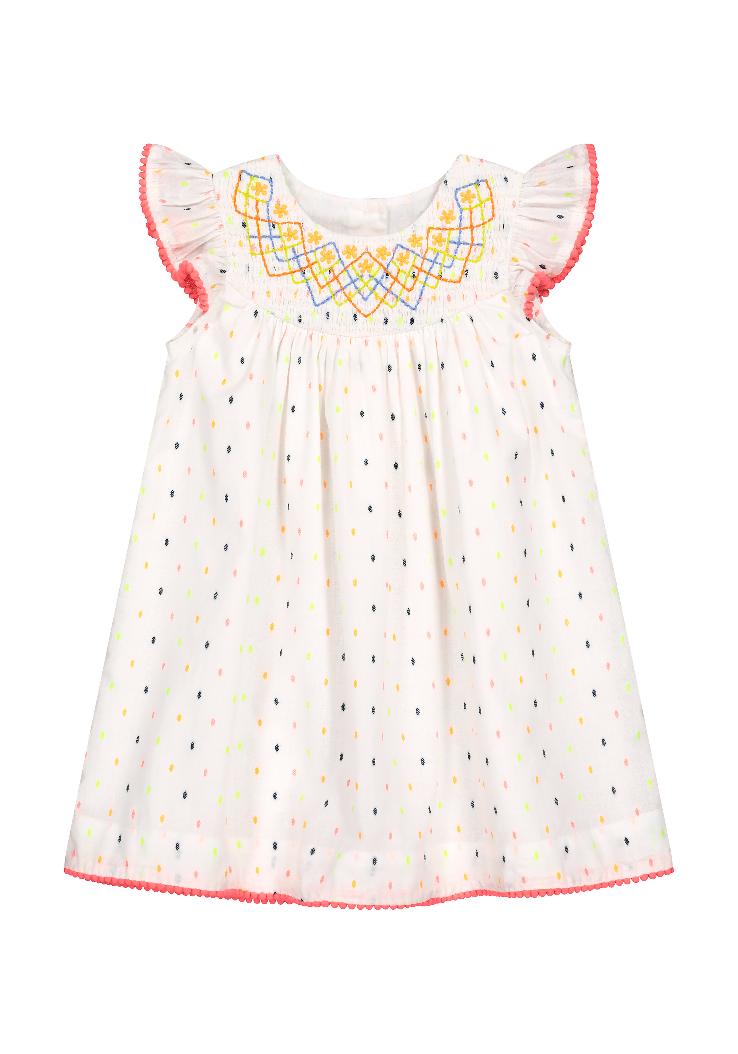 Mothercare | Girls Half Sleeves Embroidered Dobby Dress - White