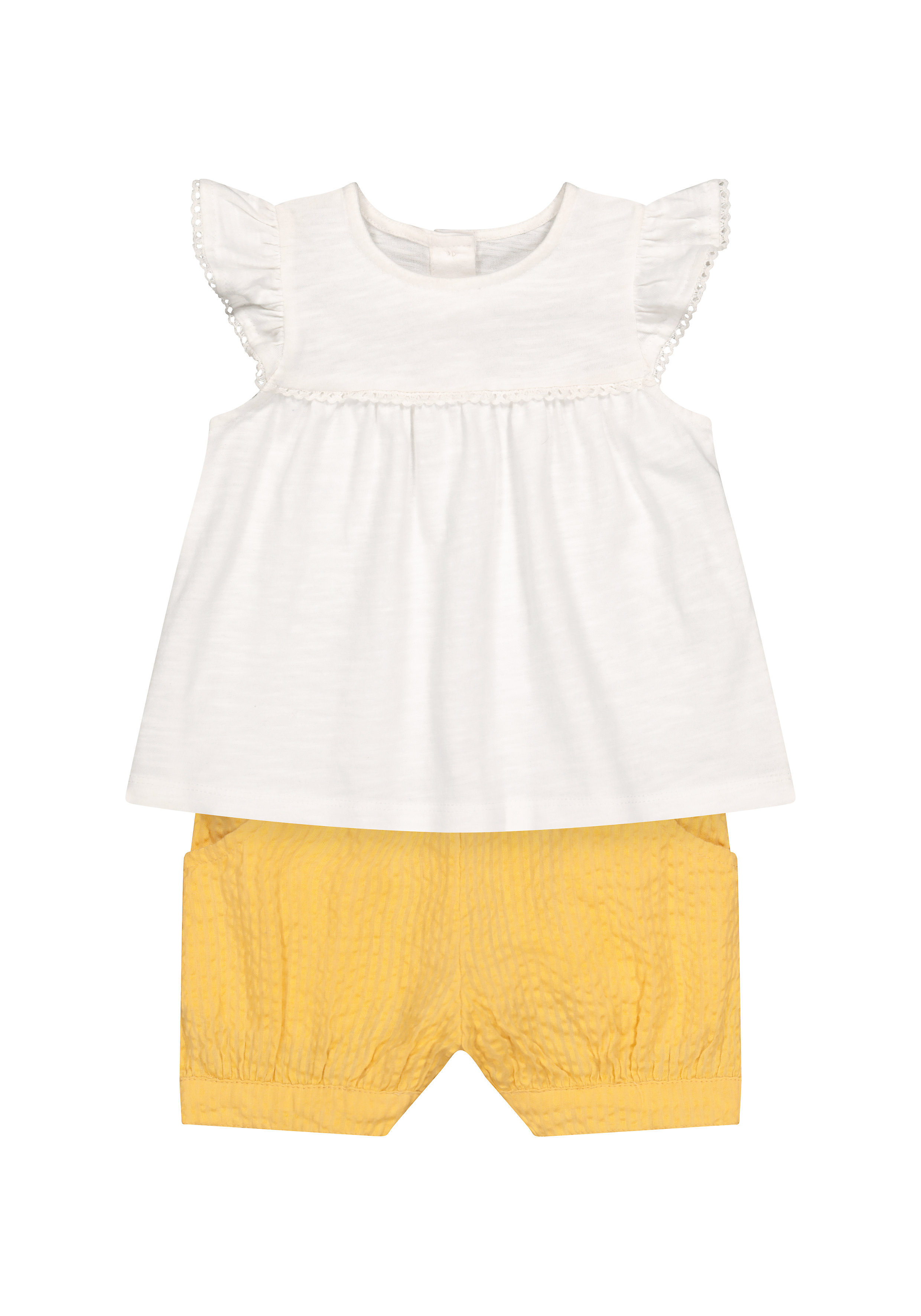 Mothercare | Girls Half Sleeves Lace Details Top And Shorts Set - White Yellow