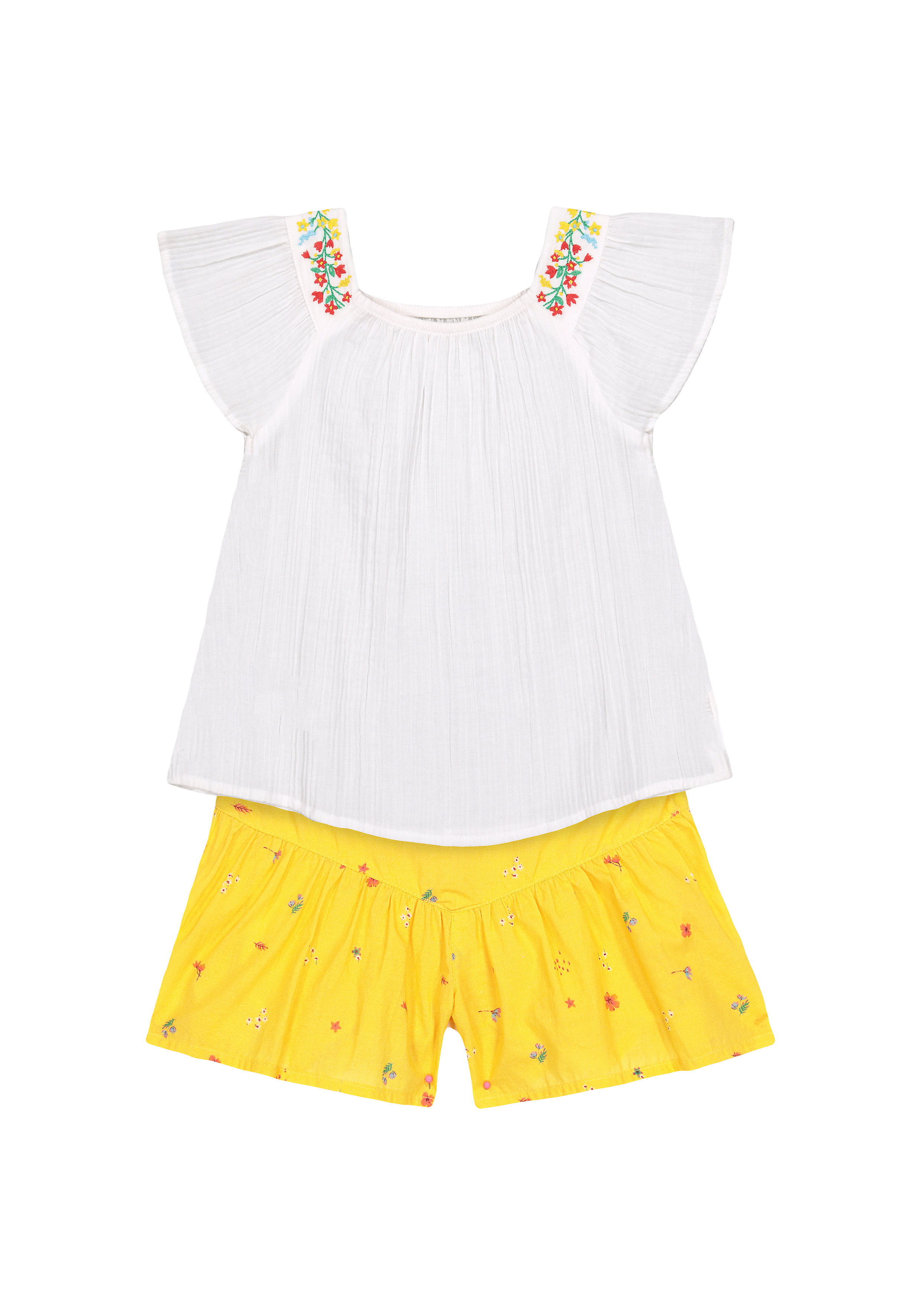 Mothercare   Girls Half Sleeves Embroidered Tops And Shorts Set - White Yellow