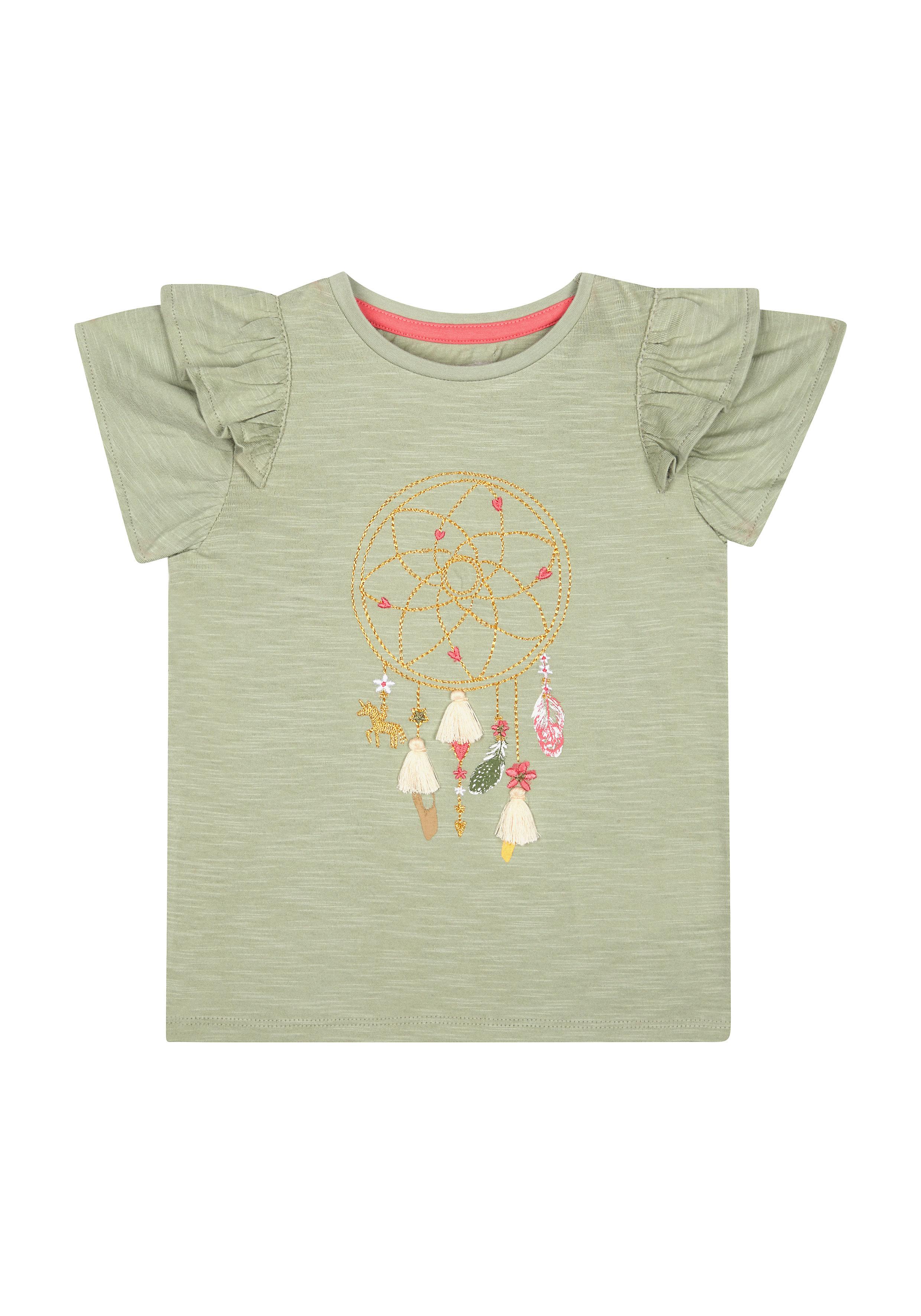 Mothercare | Girls Half Sleeves Round Neck T-shirts  - Khaki