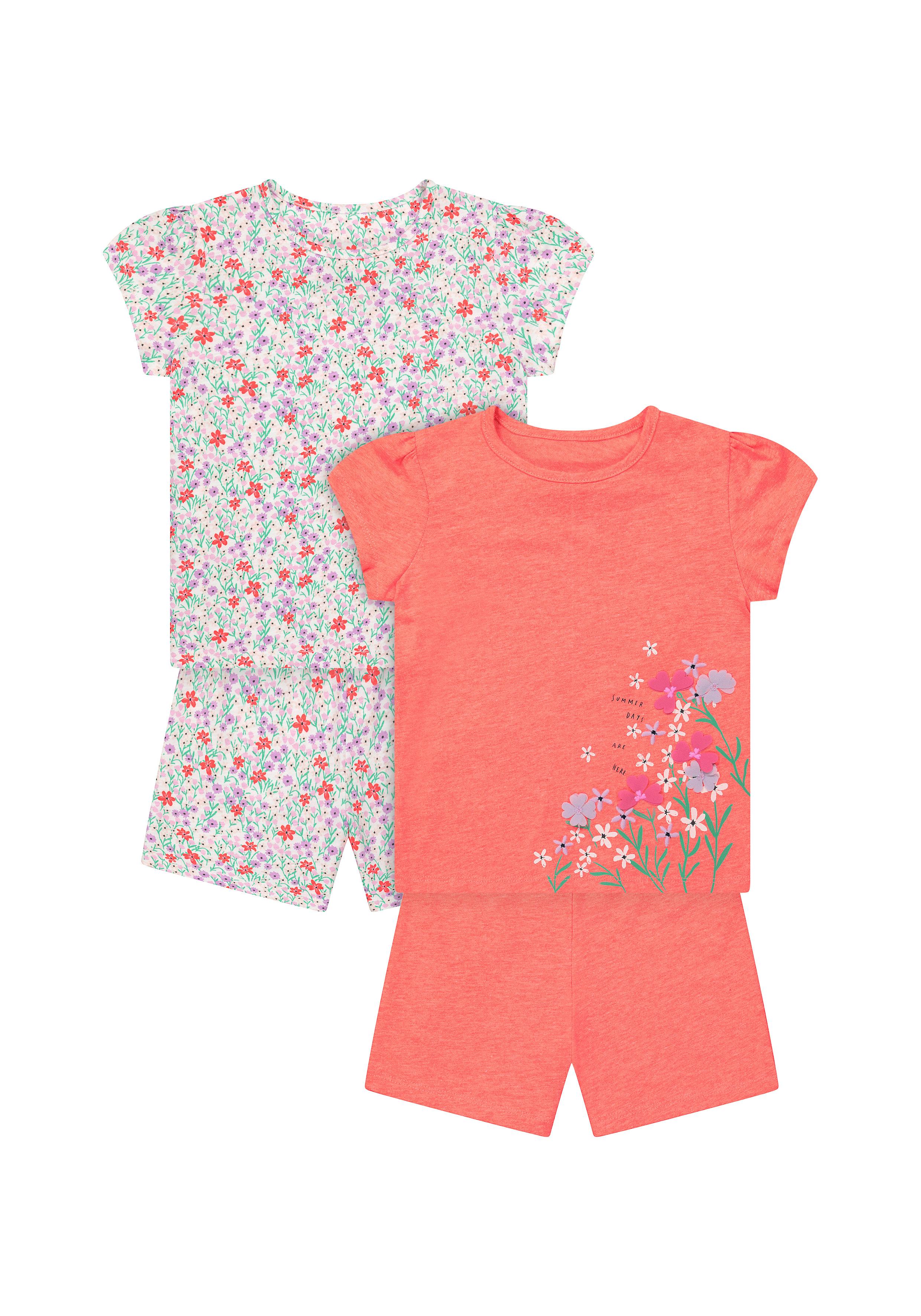 Mothercare | Girls Half Sleeves Shorts Sets - Pack Of 2 - Orange