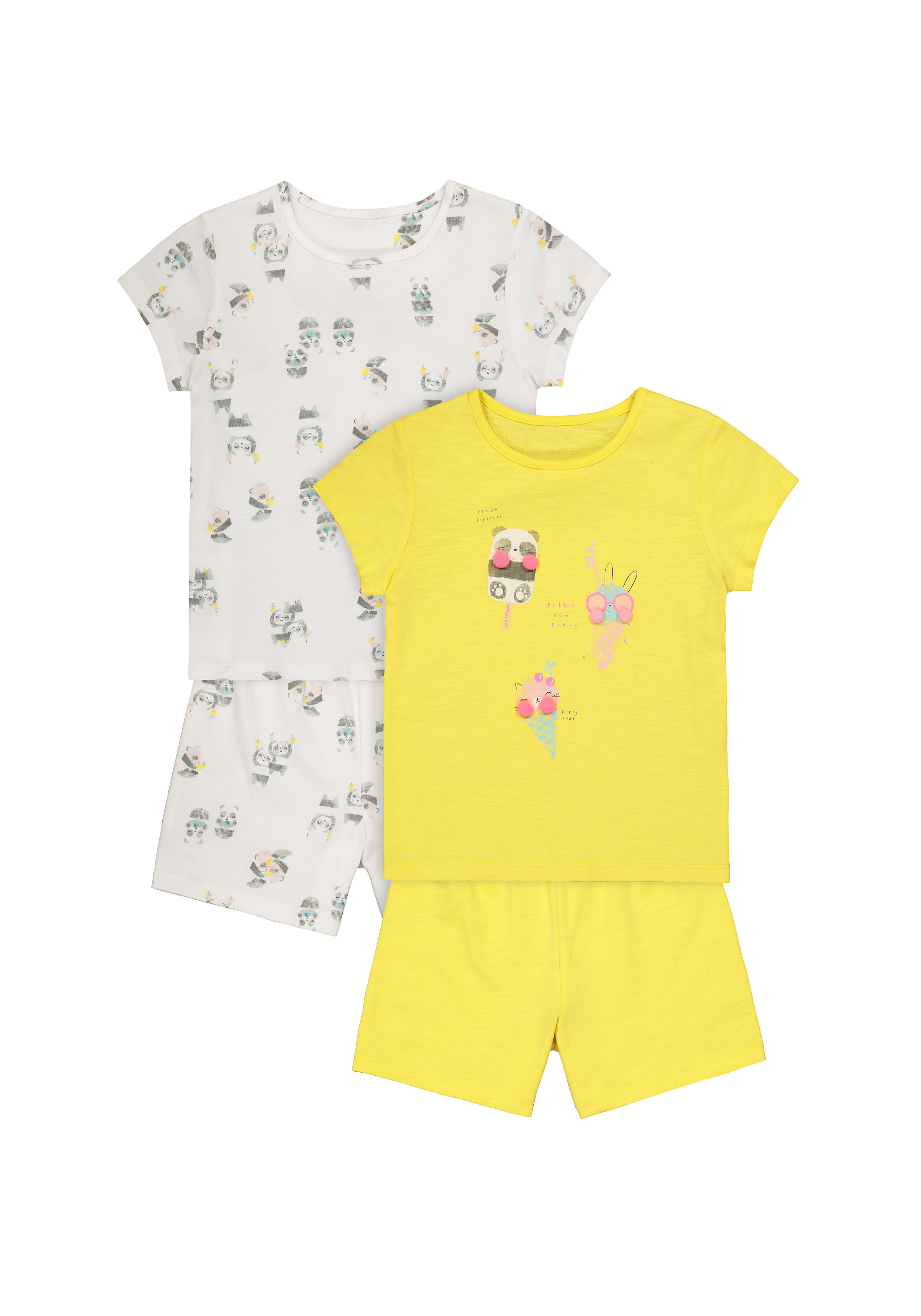 Mothercare | Girls Half Sleeves Shorts Sets - Pack Of 2 - Yellow