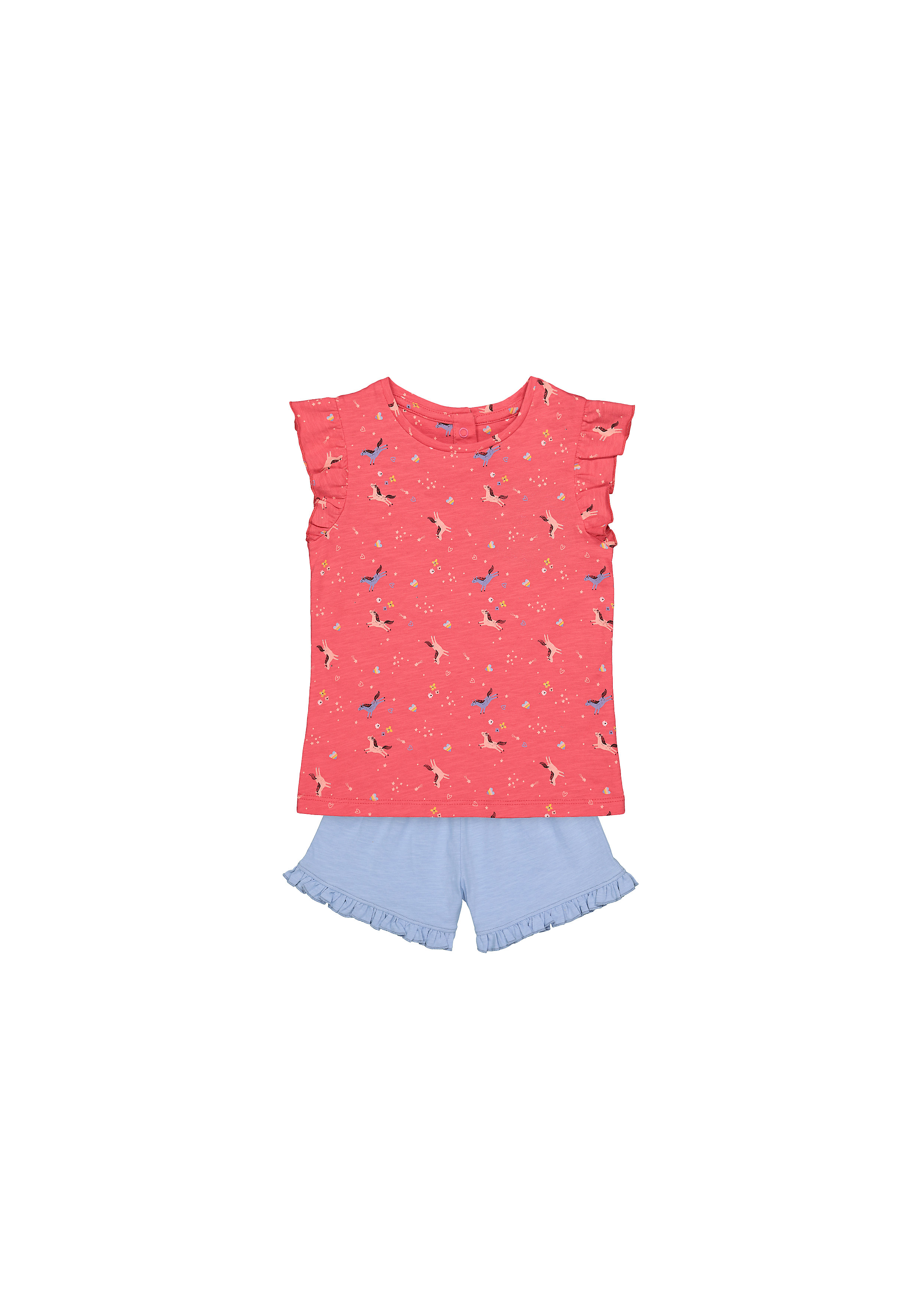 Mothercare | Girls Half Sleeves Shorts Sets  - Pack Of 2 - Pink